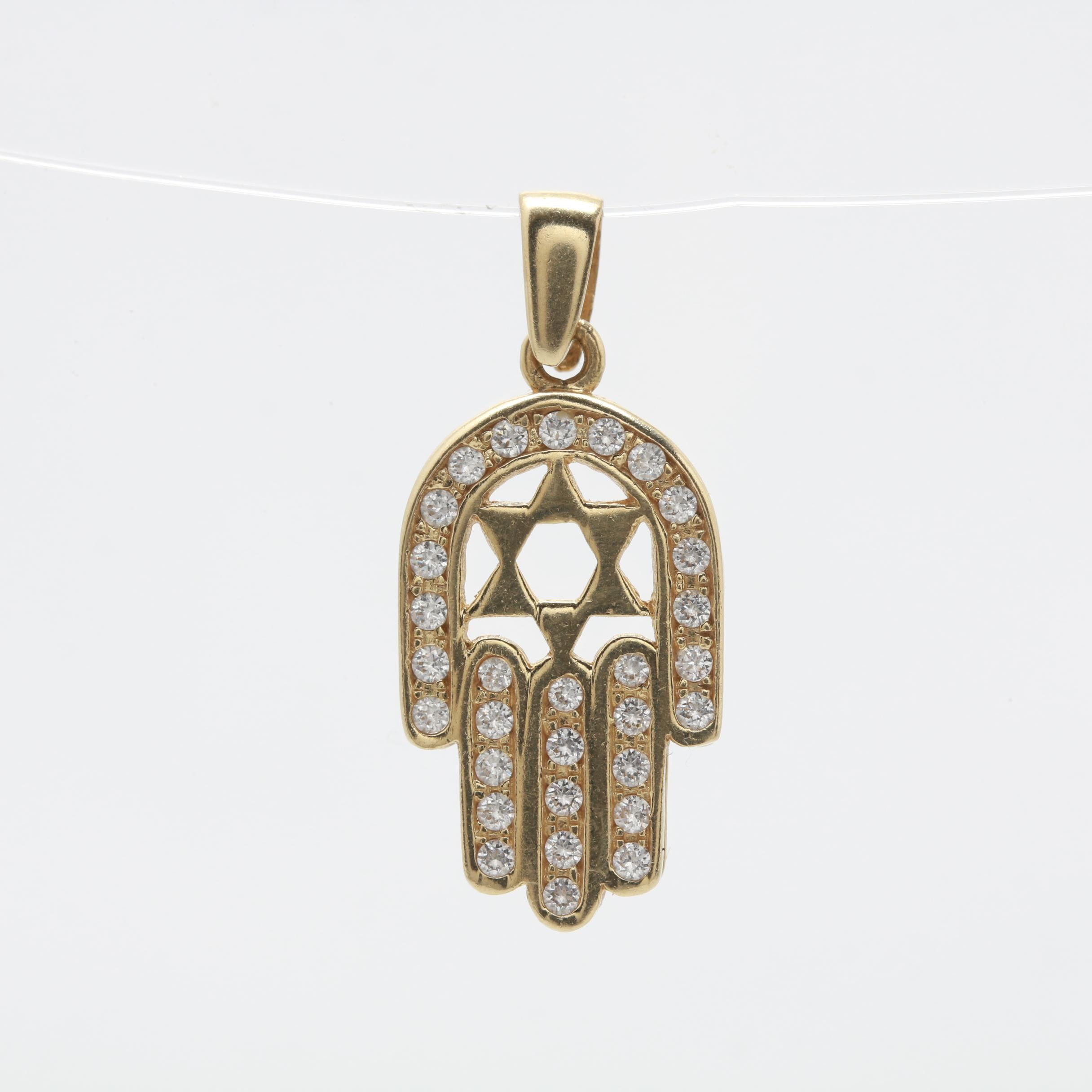 14K Yellow Gold Cubic Zirconia Hamsa Hand Pendant