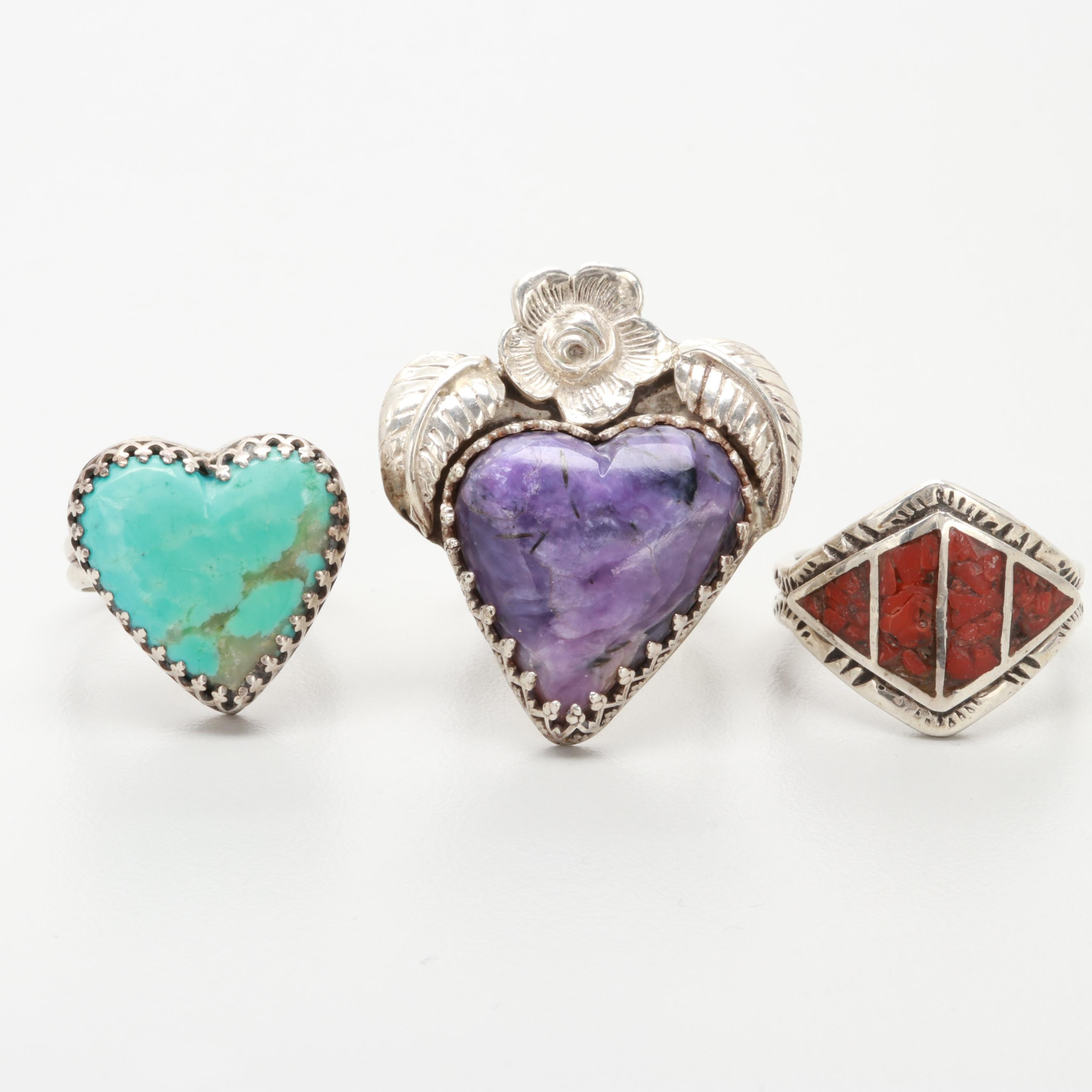 Sterling Silver Turquoise, Chip Stone in Resin and Charoite Rings