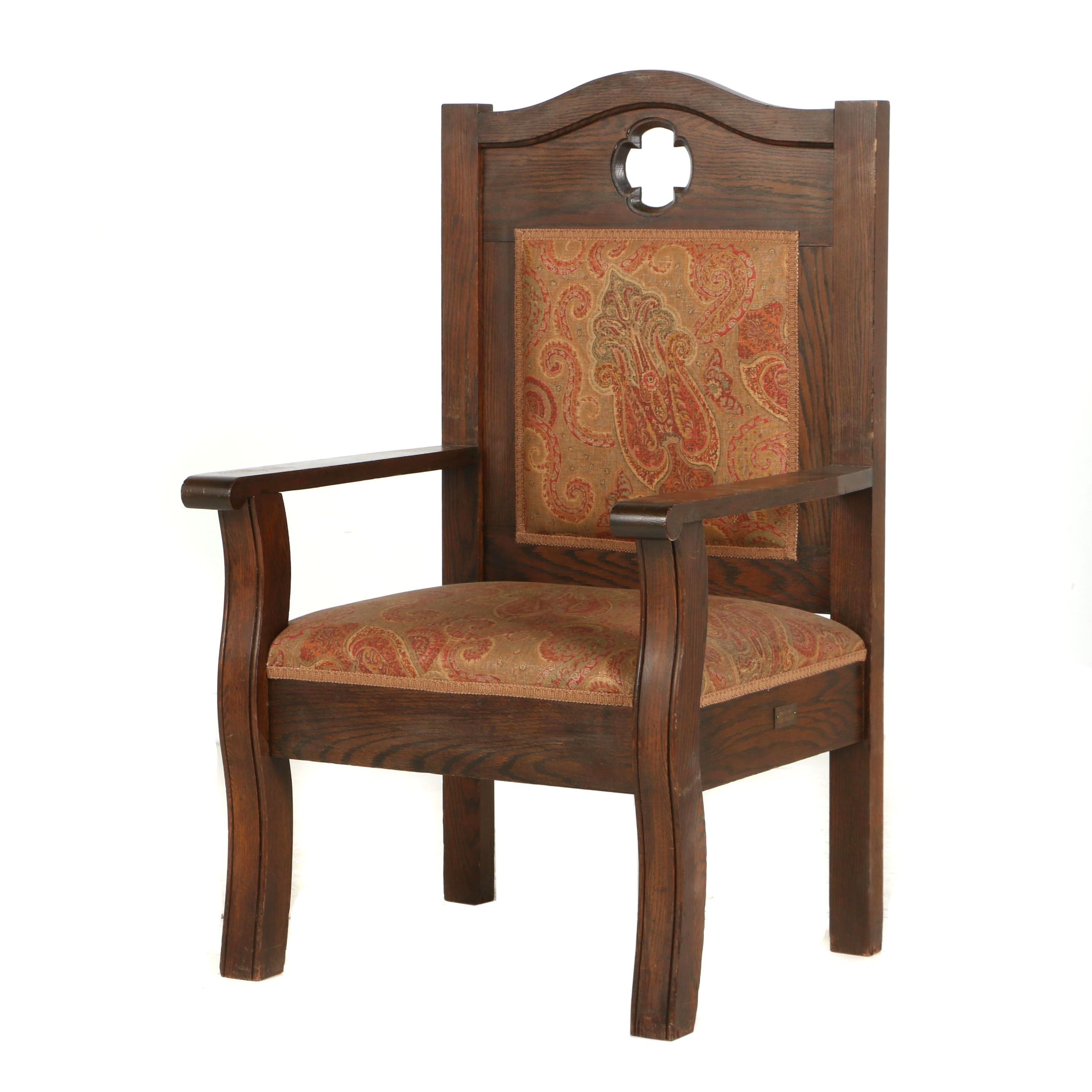 Arts and Crafts Oak Open Armchair, Early 20th Century