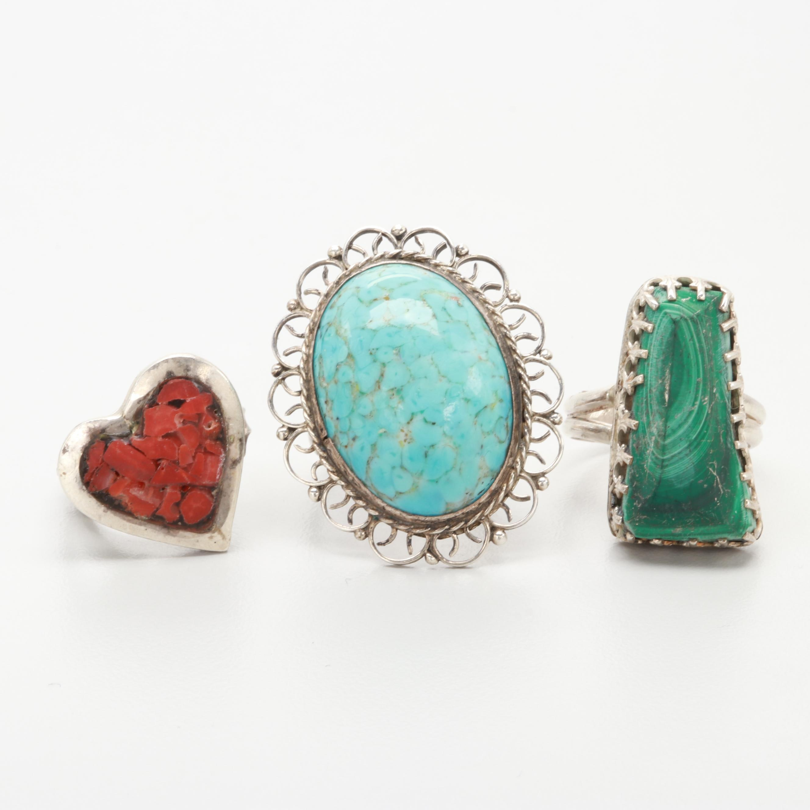 Sterling Glass, Malachite and Chip Stone in Resin Rings Featuring Bill Kirkham