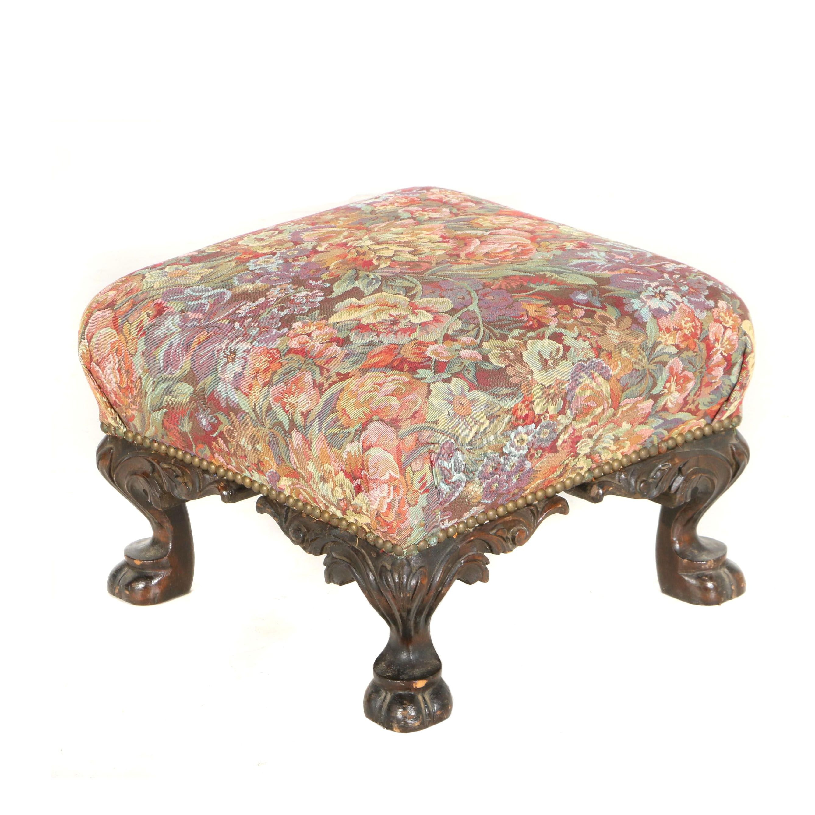 Late Victorian Walnut-Stained Footstool, Late 19th/Early 20th Century