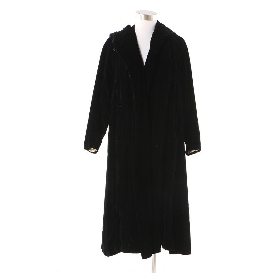 2a4f10fb58 1980s Saks Fifth Avenue Black Velvet Evening Coat with Faux Shearling  Lining   EBTH