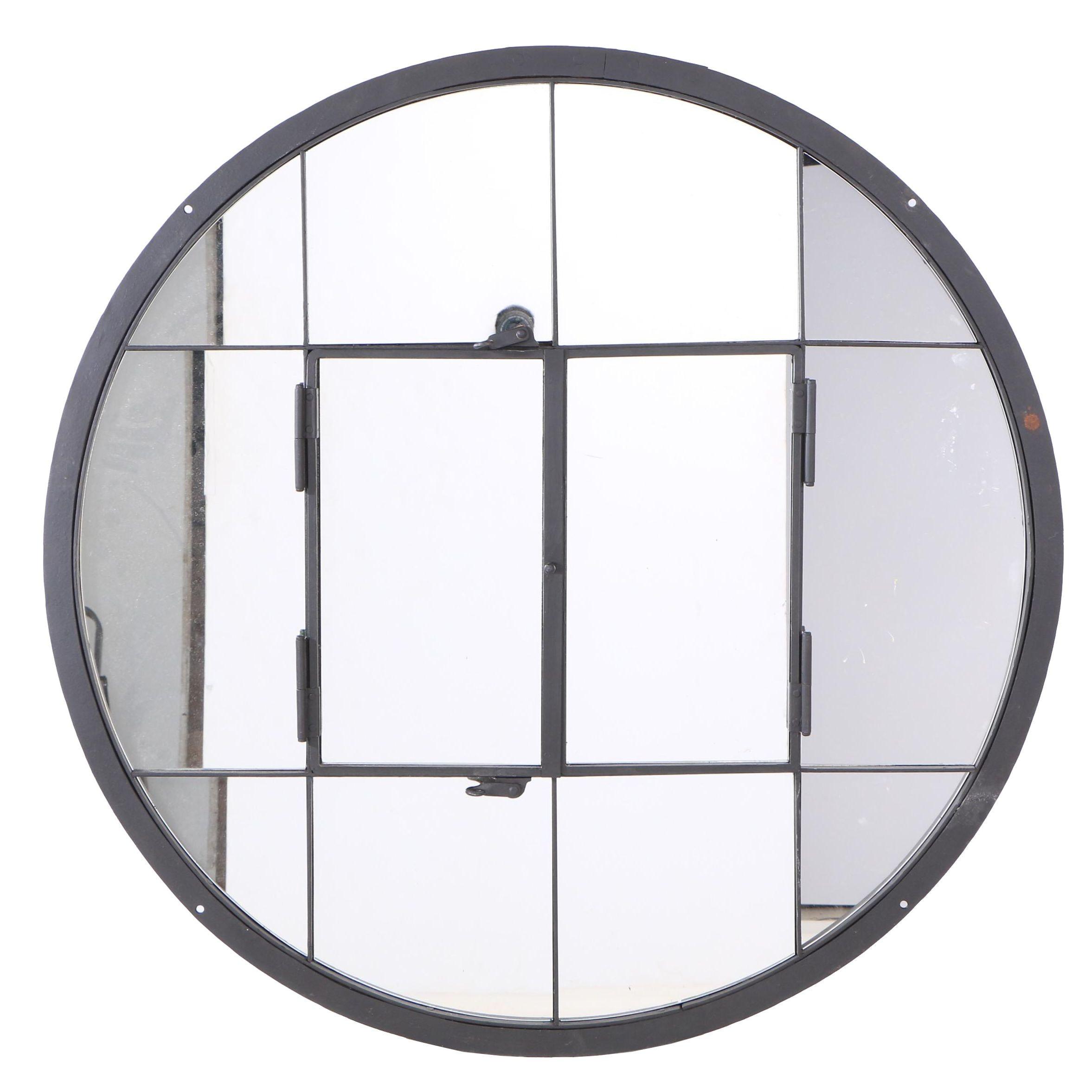Window Pane Mirror with Iron Frame