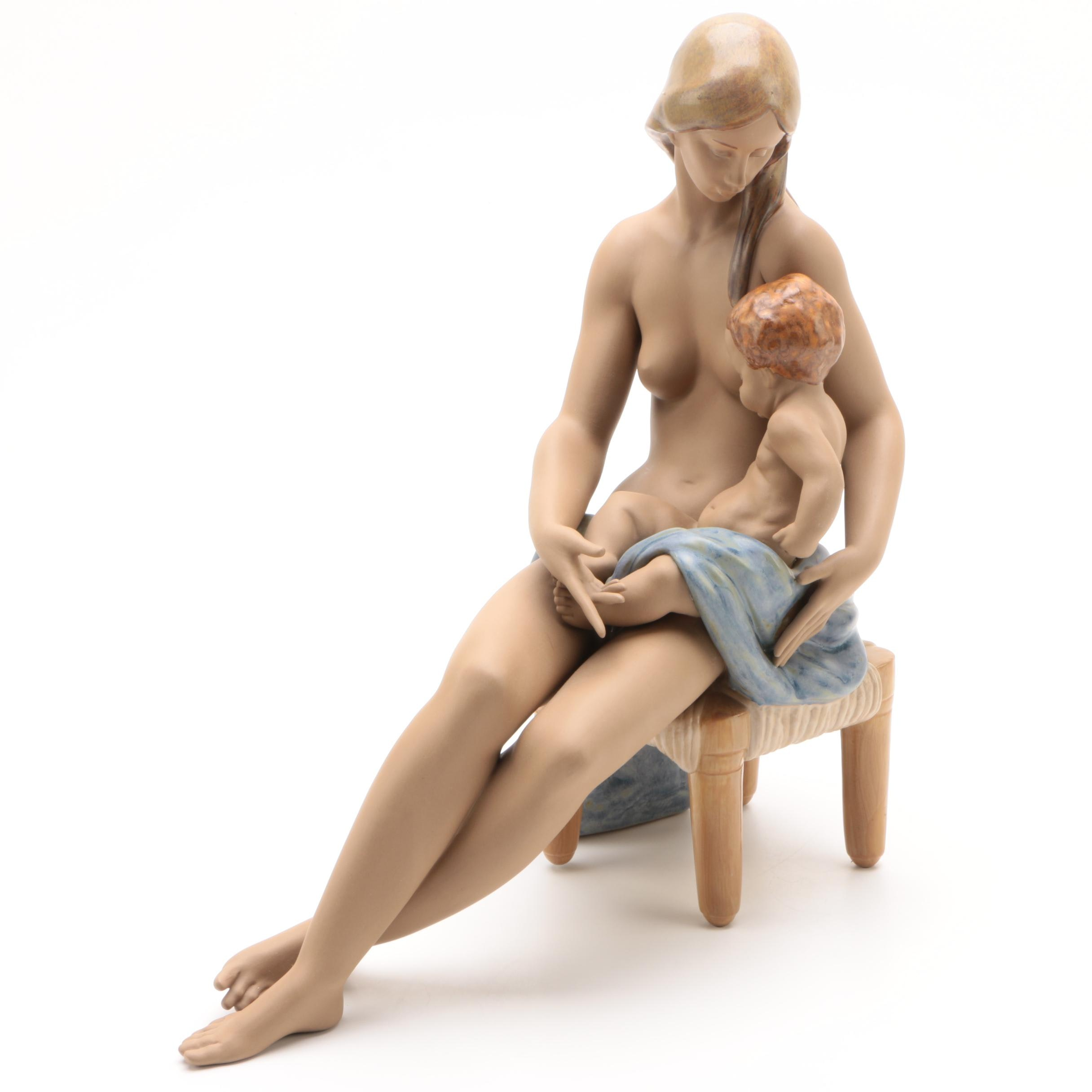 Lladró Nude Woman with Child Porcelain Figurine, 1995