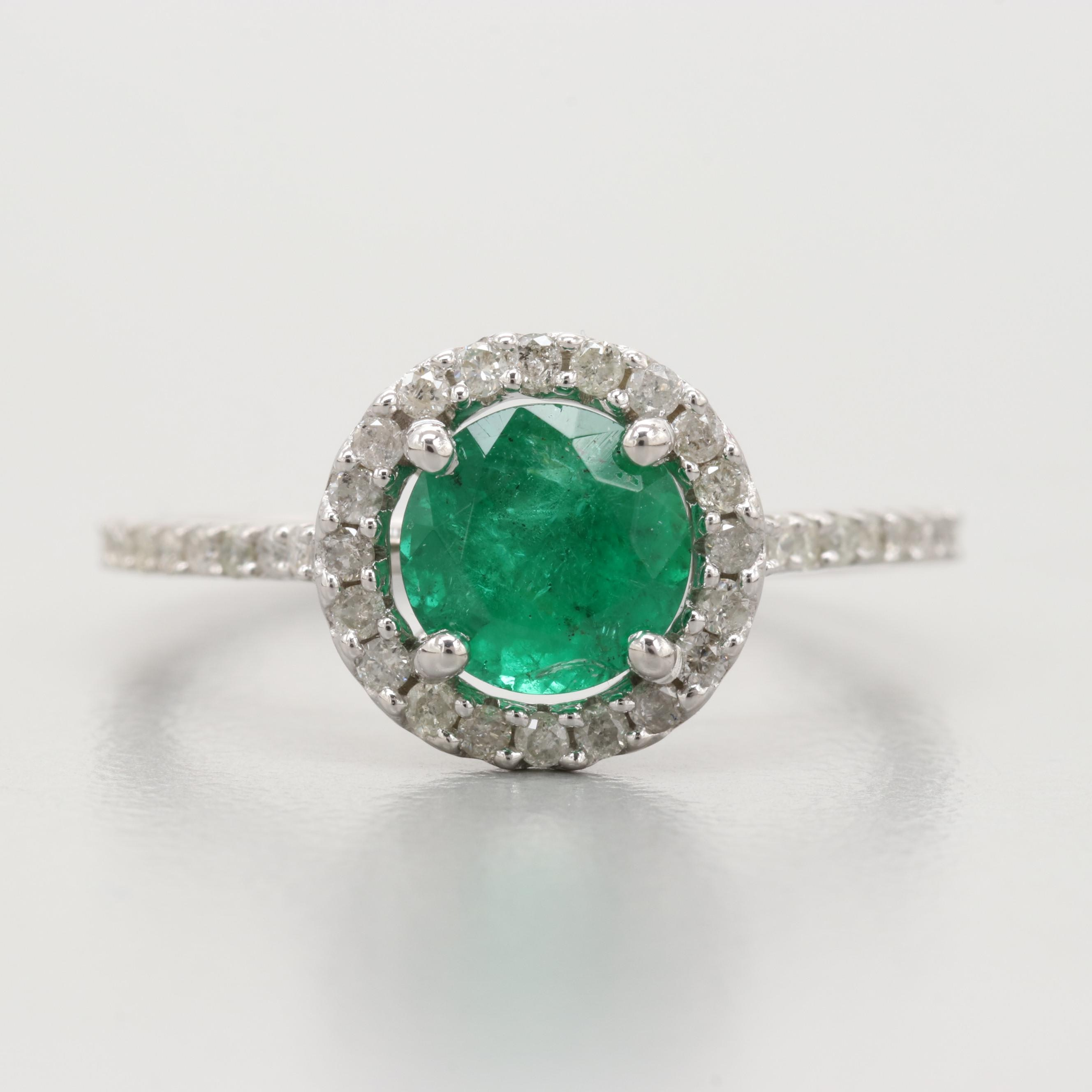 14K White Gold 1.04 CT Emerald and Diamond Ring