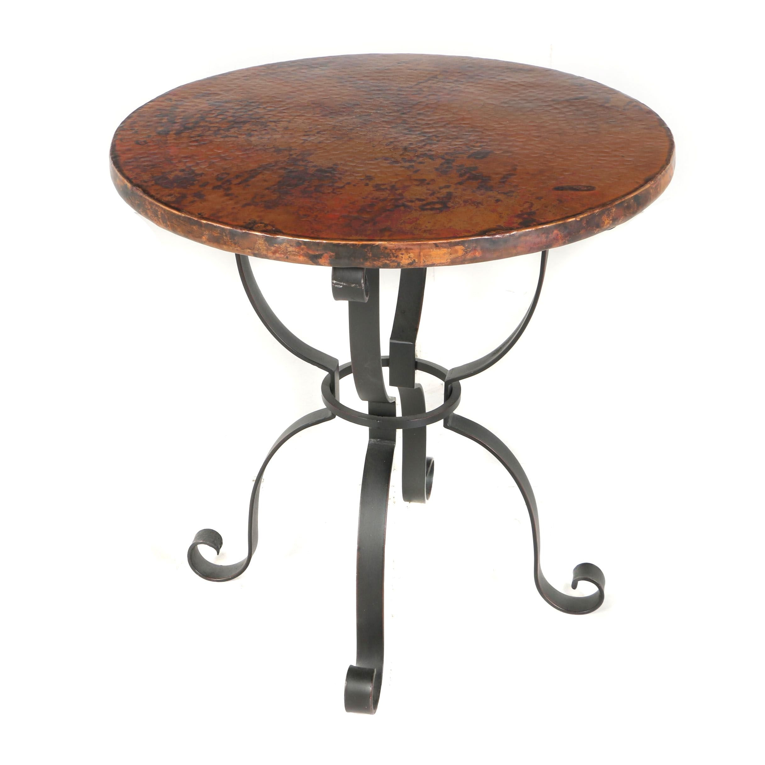 "Contemporary ""Arhaus"" Mexican Iron and Hand Hammered Copper Round Side Table"