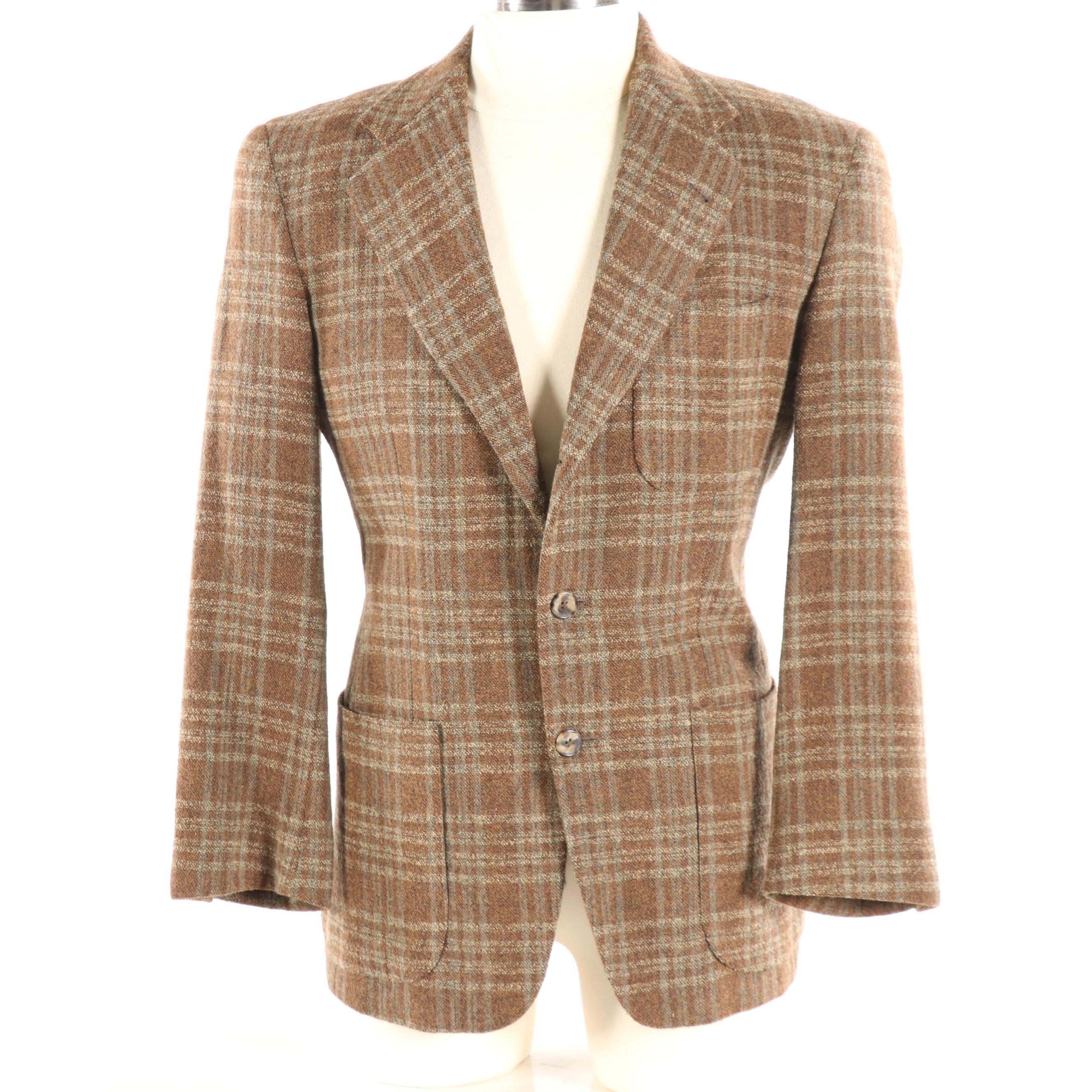 Men's Bergdorf Goodman Plaid Wool Blend Blazer
