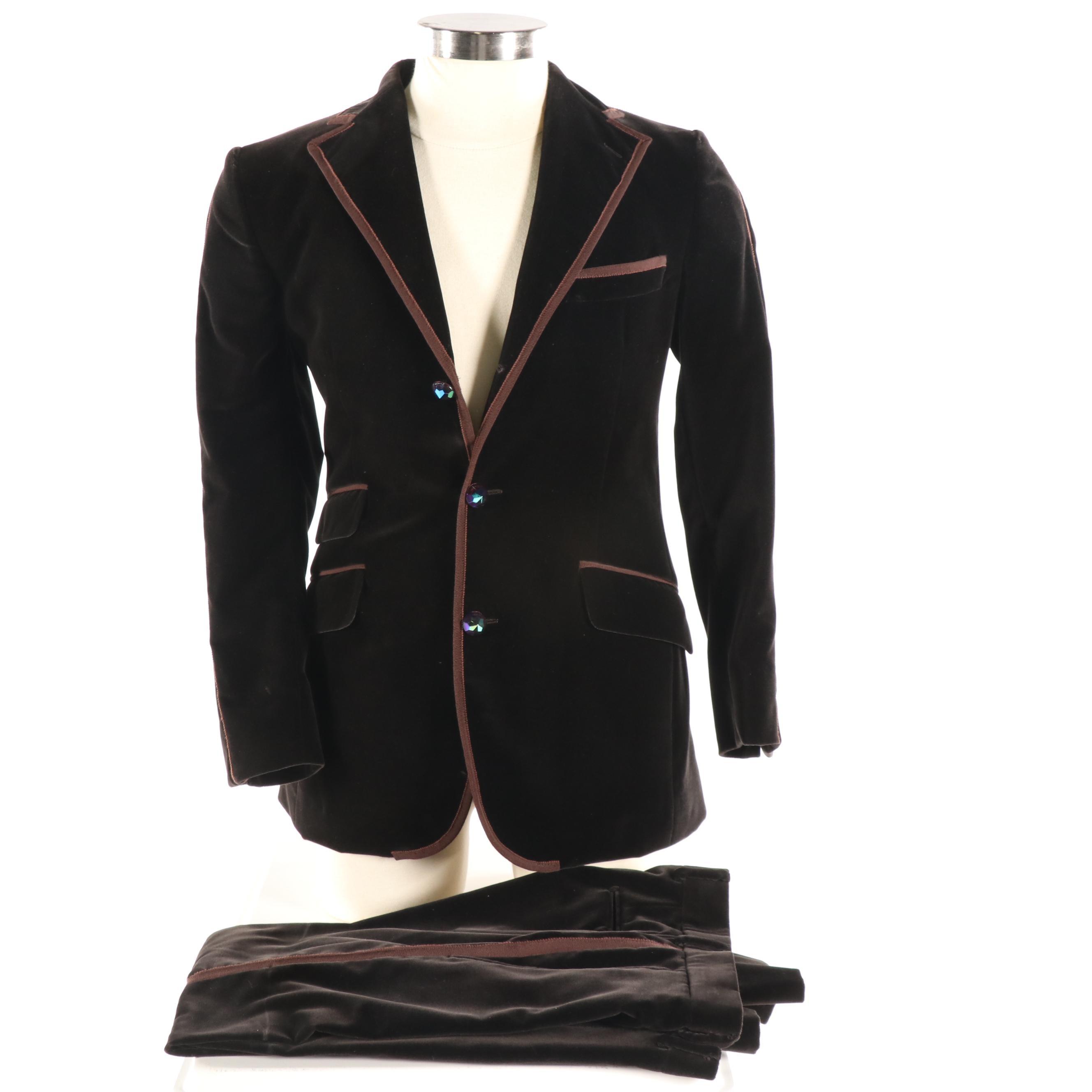 Men's Etro Milano Brown Velvet Suit