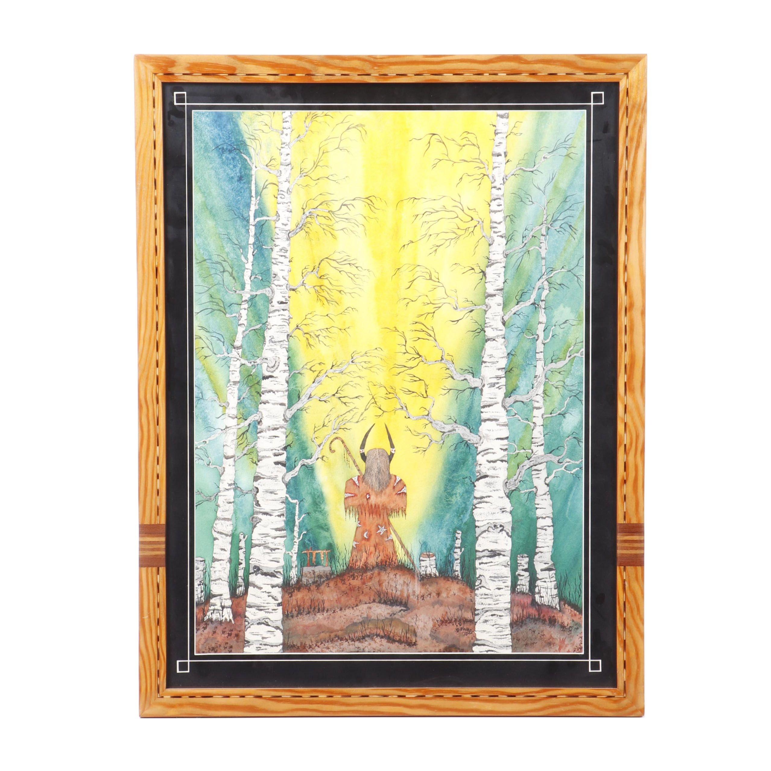 "Dennis Downes Watercolor Painting ""Shaman"""