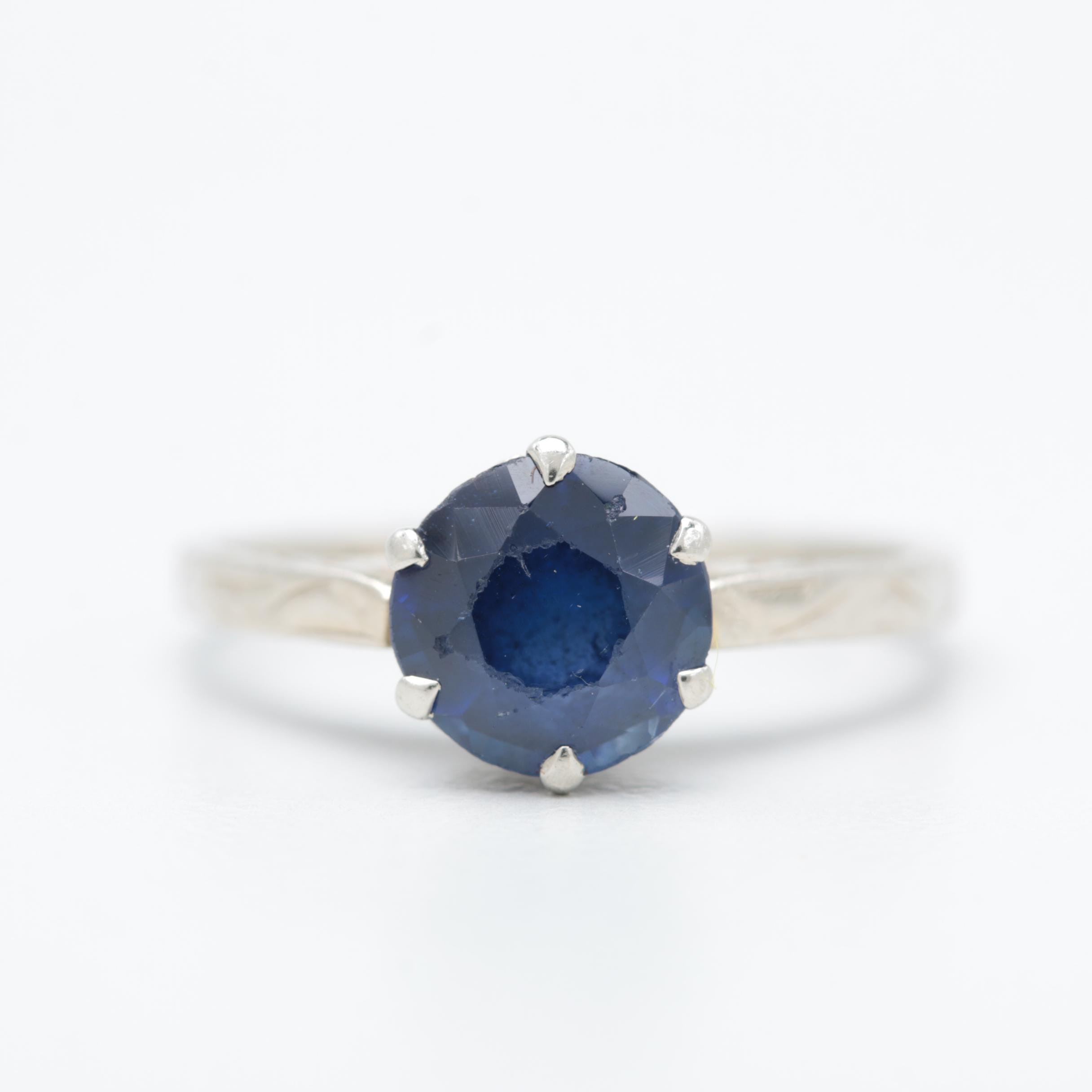 14K White Gold Synthetic Sapphire Ring
