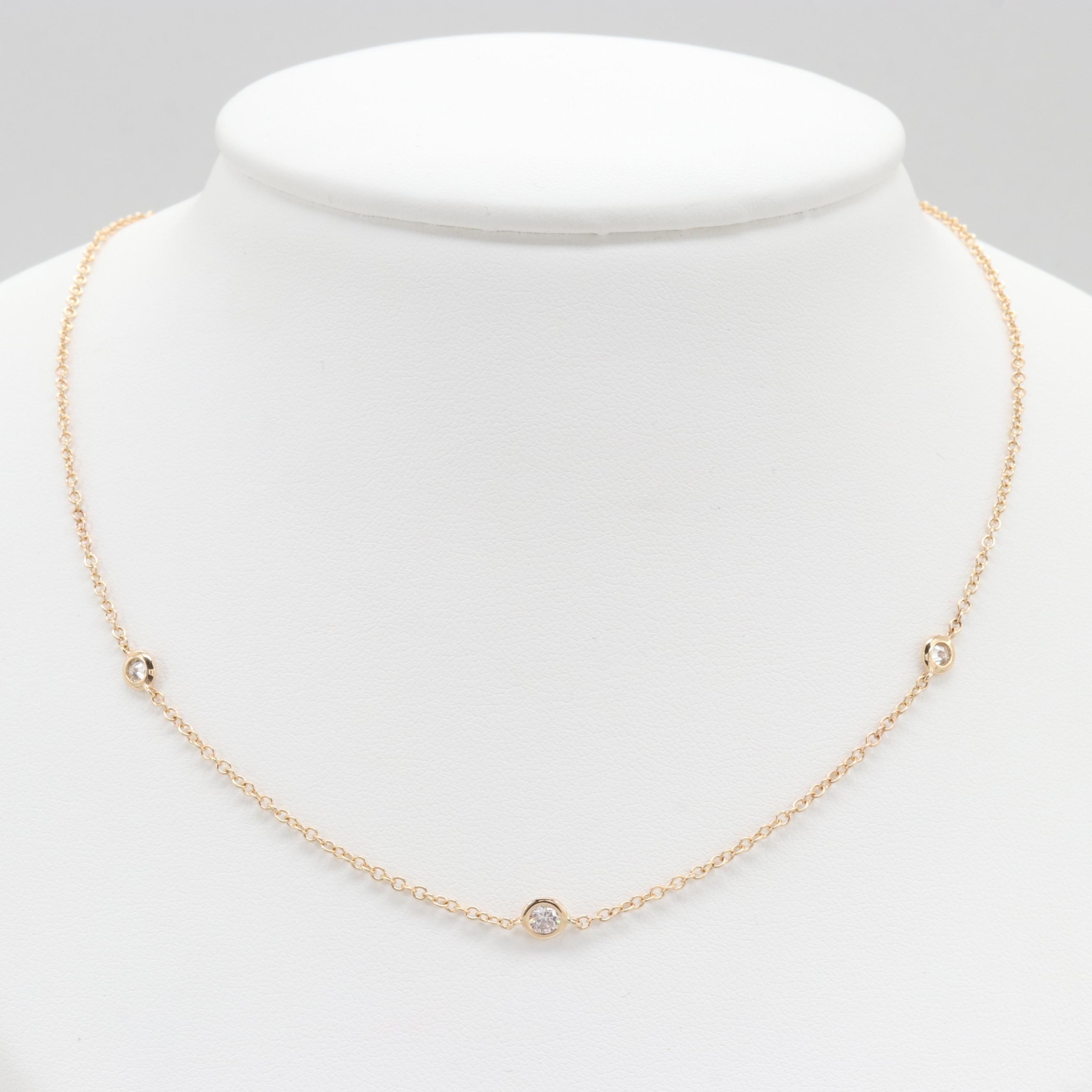 14K Yellow Gold Diamond Station Necklace