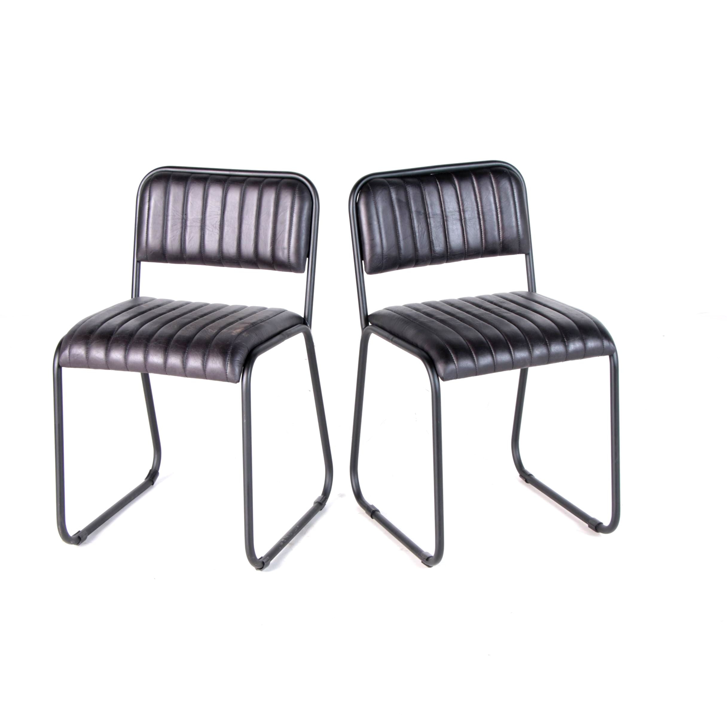 """""""Soho"""" Metal Frame Leather Office Chairs, 21st Century"""
