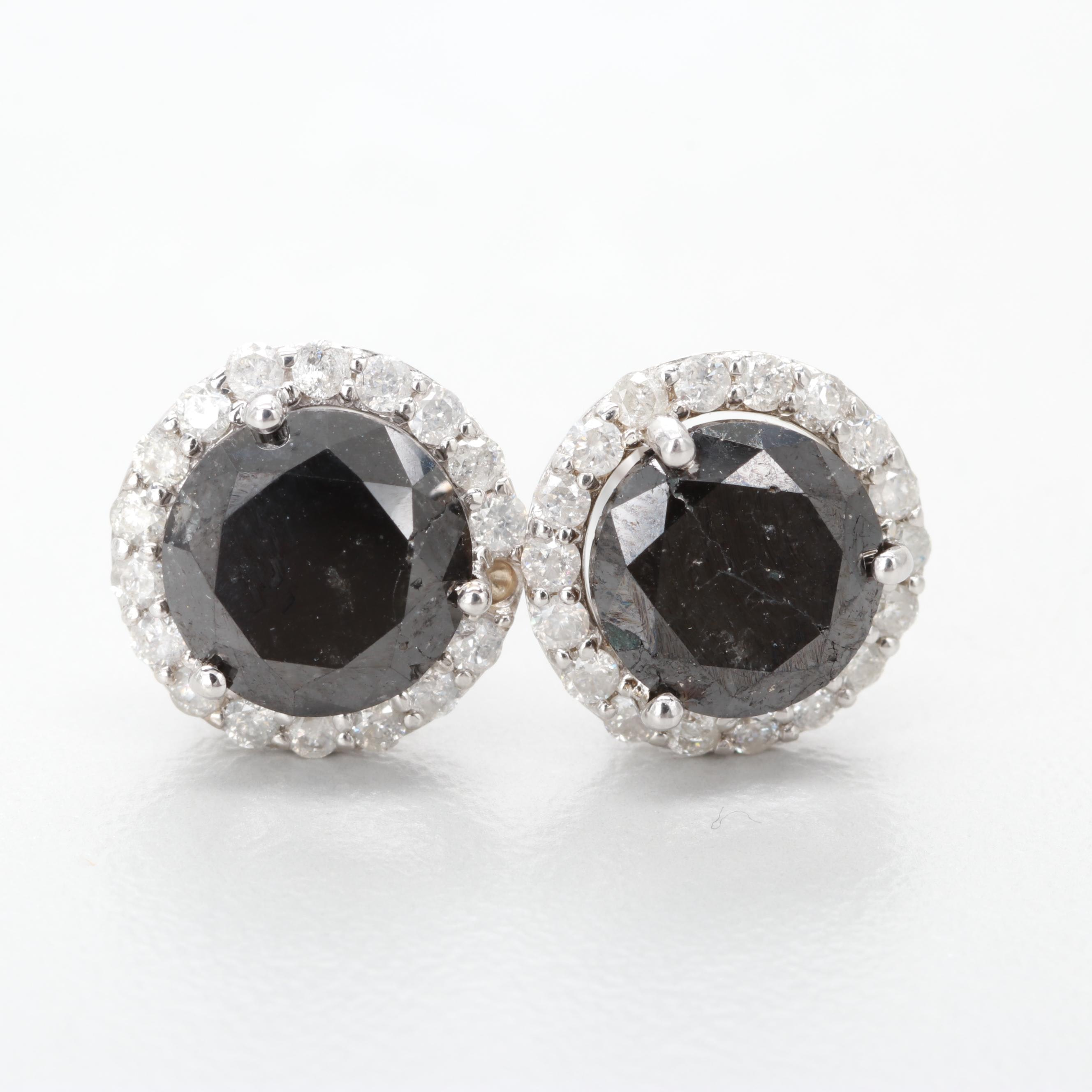 14K White Gold 3.06 CTW Diamond Earrings
