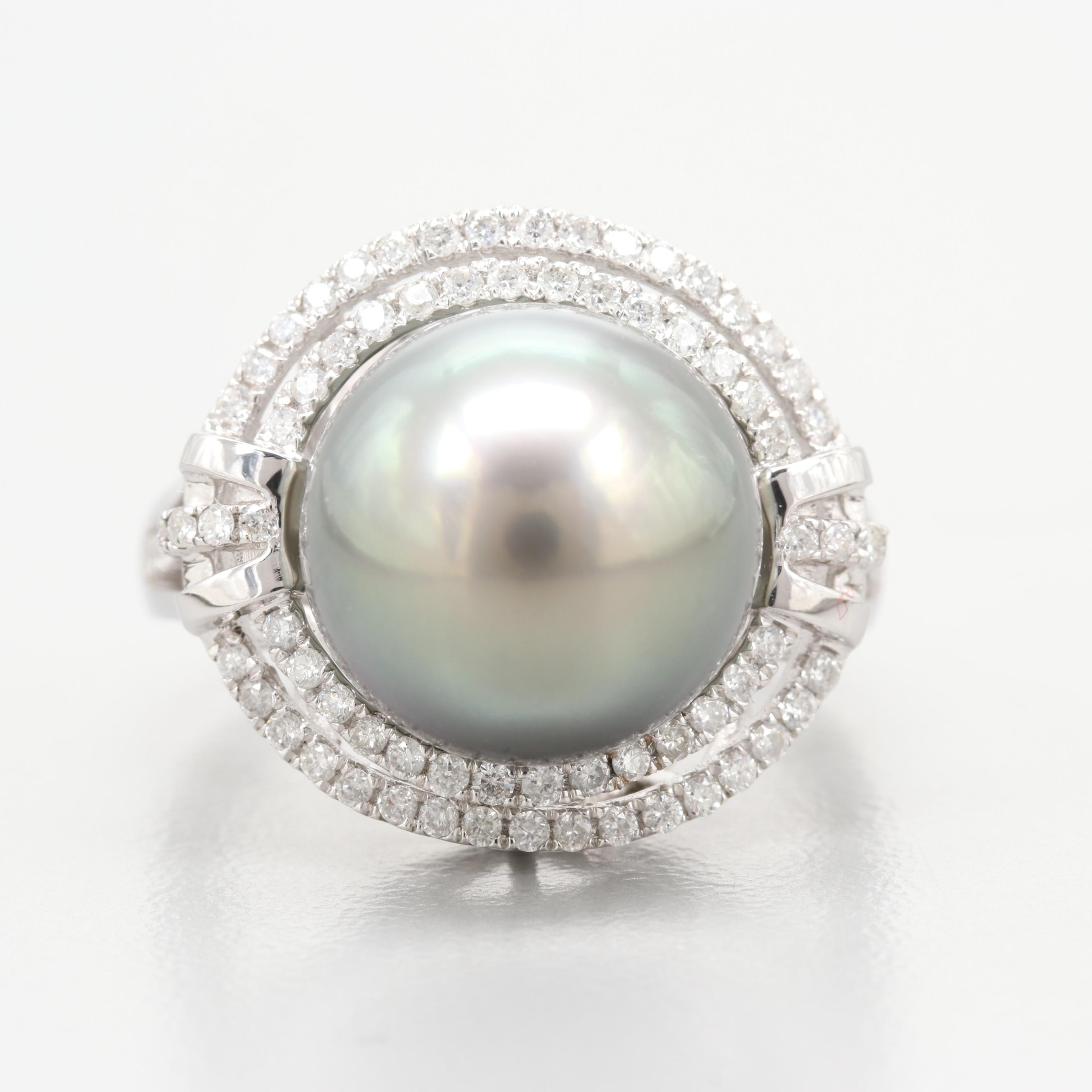 18K White Gold Cultured Pearl and Diamond Ring