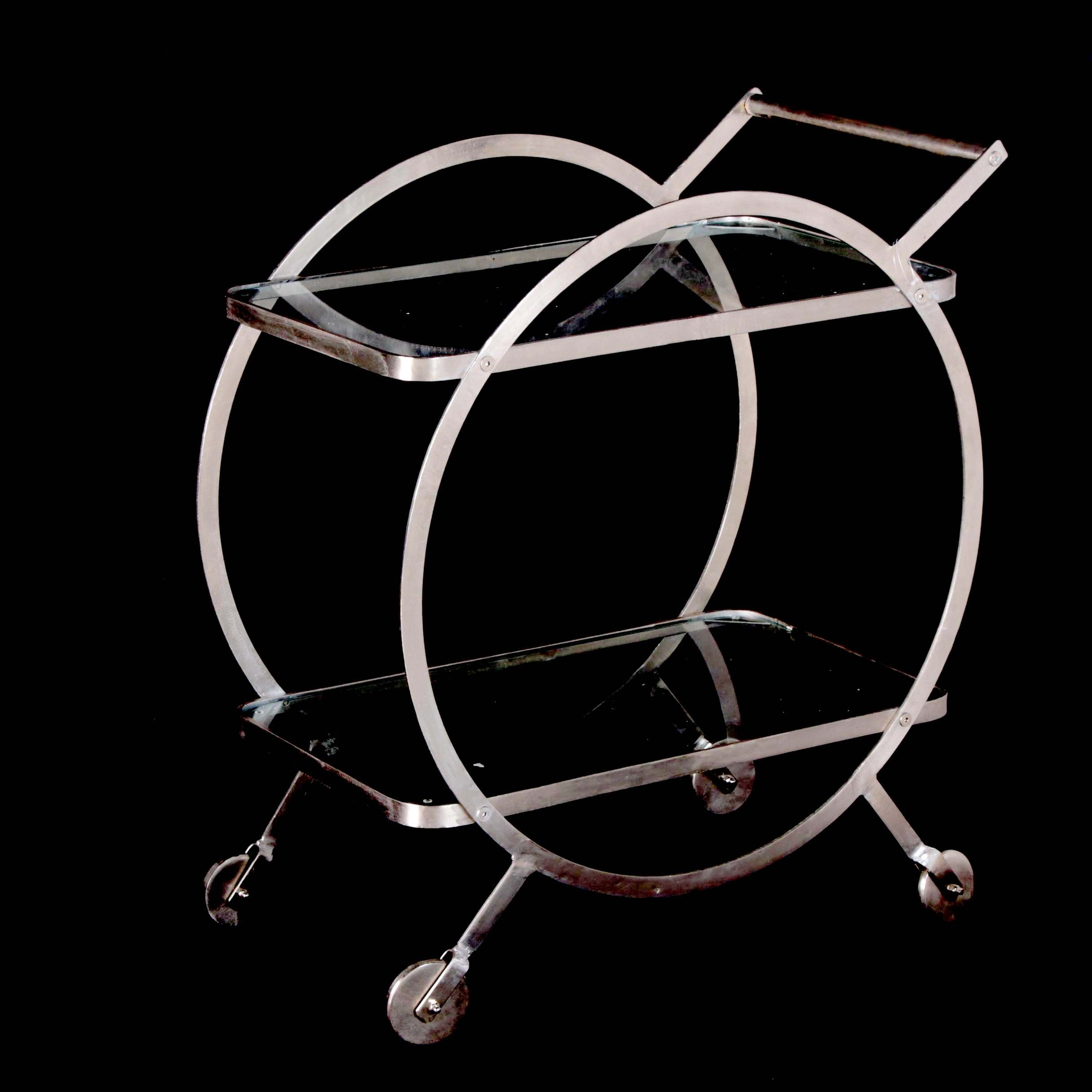 """Art Deco Style """"Luster"""" Metal and Glass Bar Cart, 21st Century"""