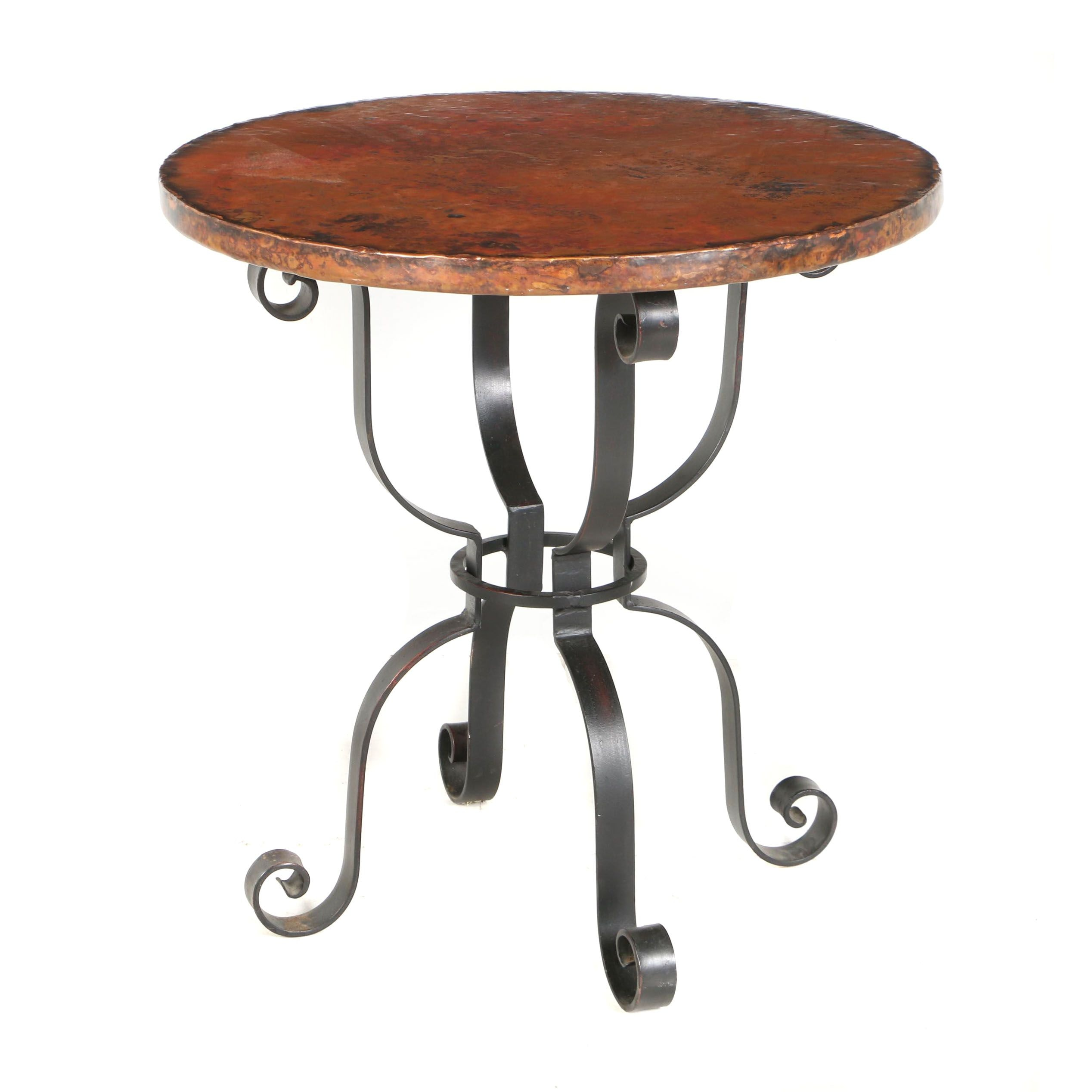 "Contemporary ""Arhaus"" Mexican Hand Hammered Copper and Iron Round Side Table"