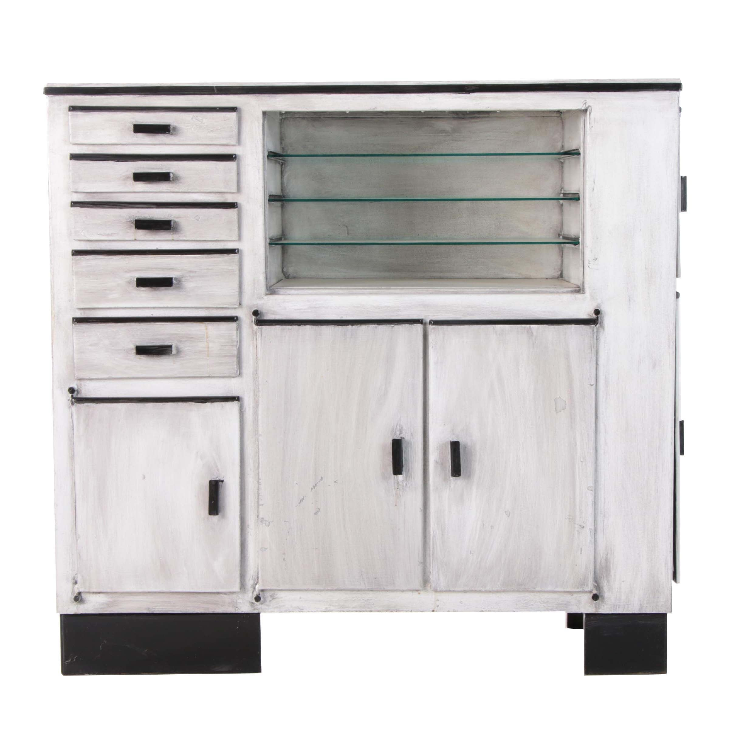Painted Wood and Metal Cabinet with Drawers and Glass Shelves, Late 20th Century