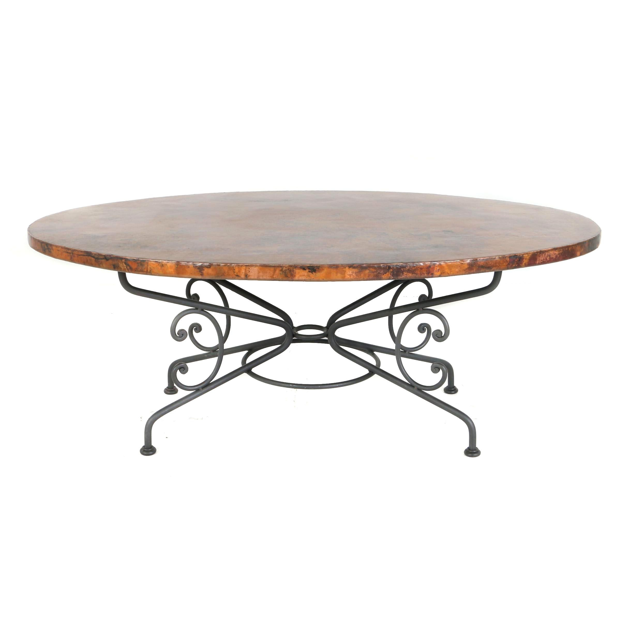 """Contemporary """"Arhaus"""" Mexican Iron and Hand Hammered Copper Oval Dining Table"""