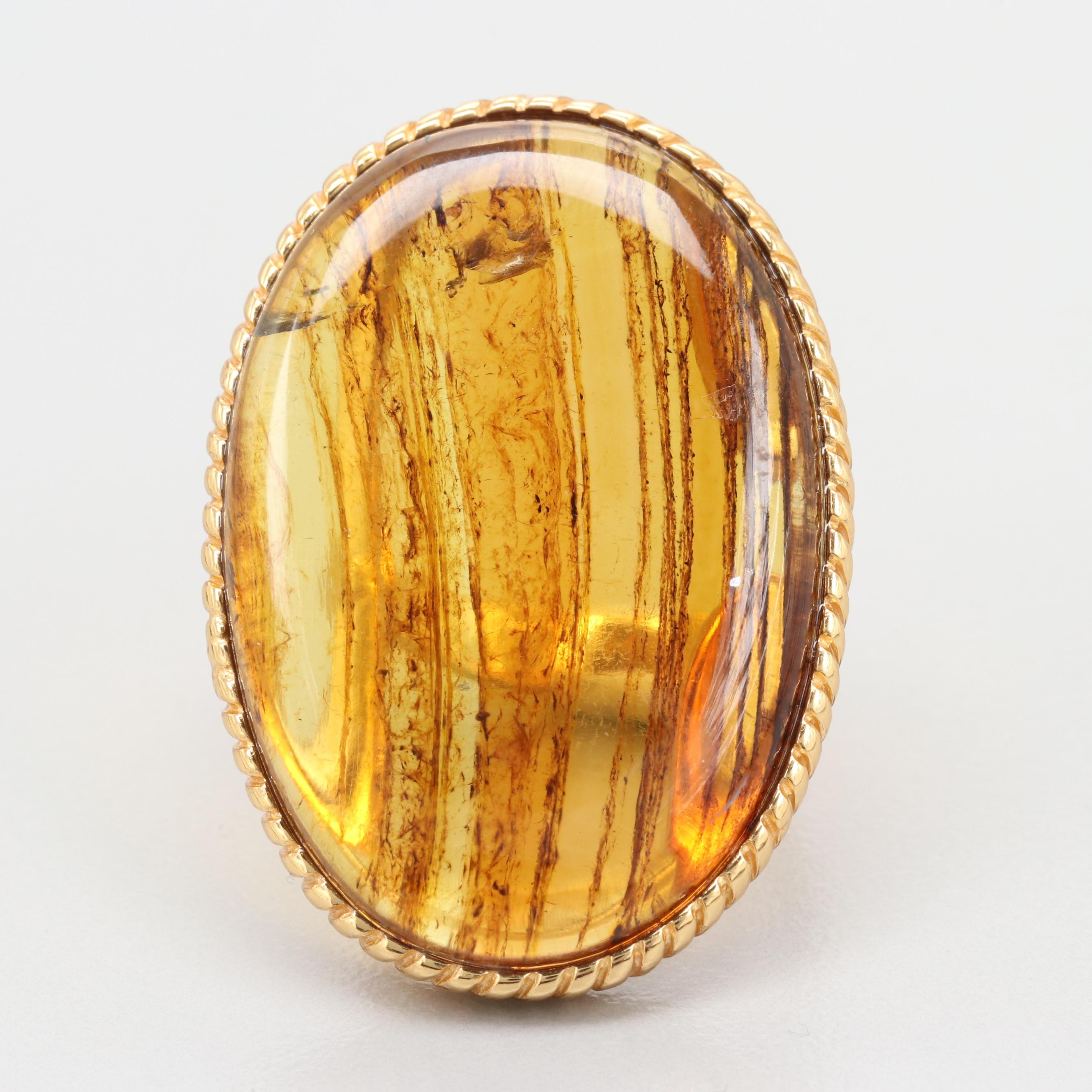 Gold Wash on Sterling Silver Resin Ring