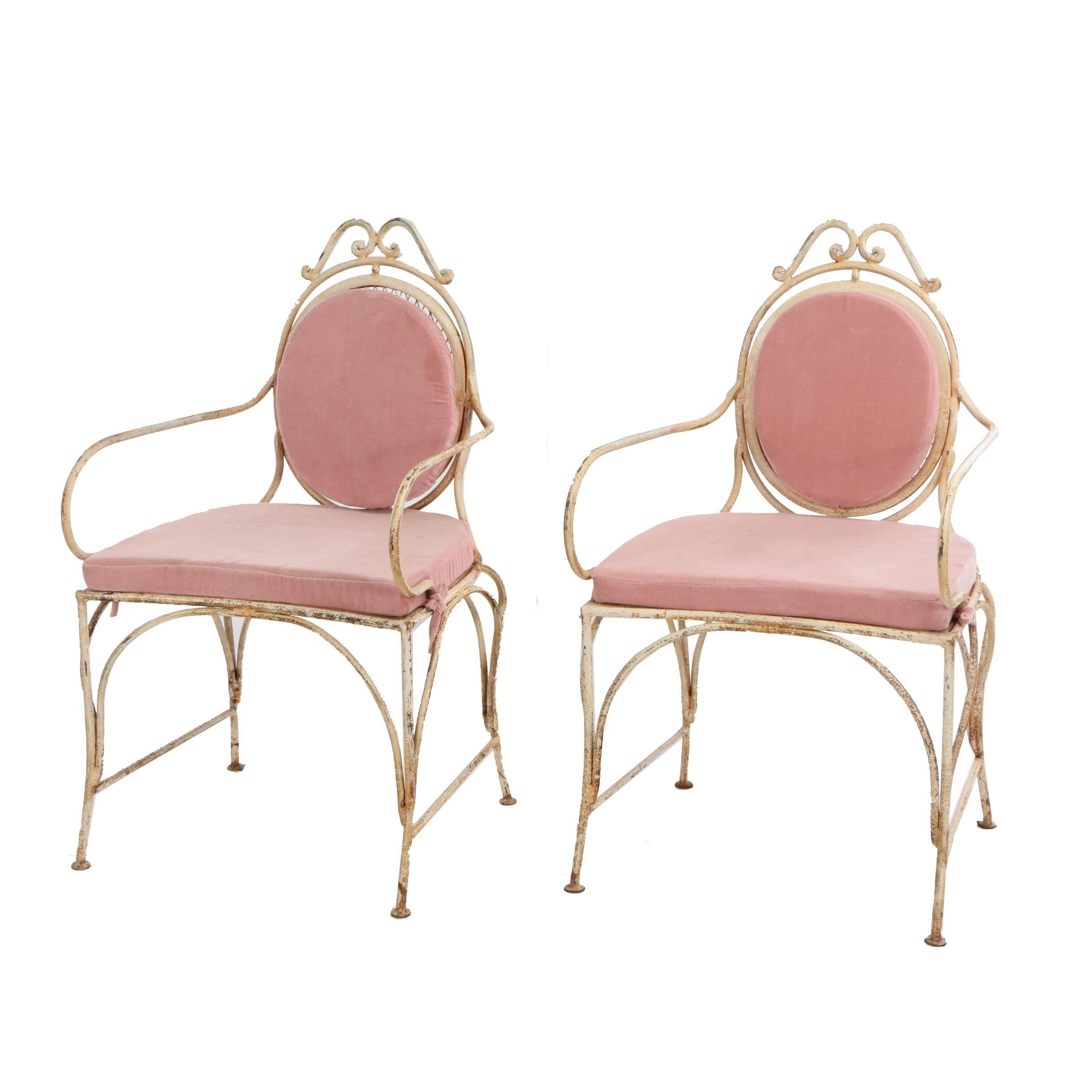 "French Style ""Veranda"" Metal Armchairs with Removable Velvet Cushions, 21st Cent"