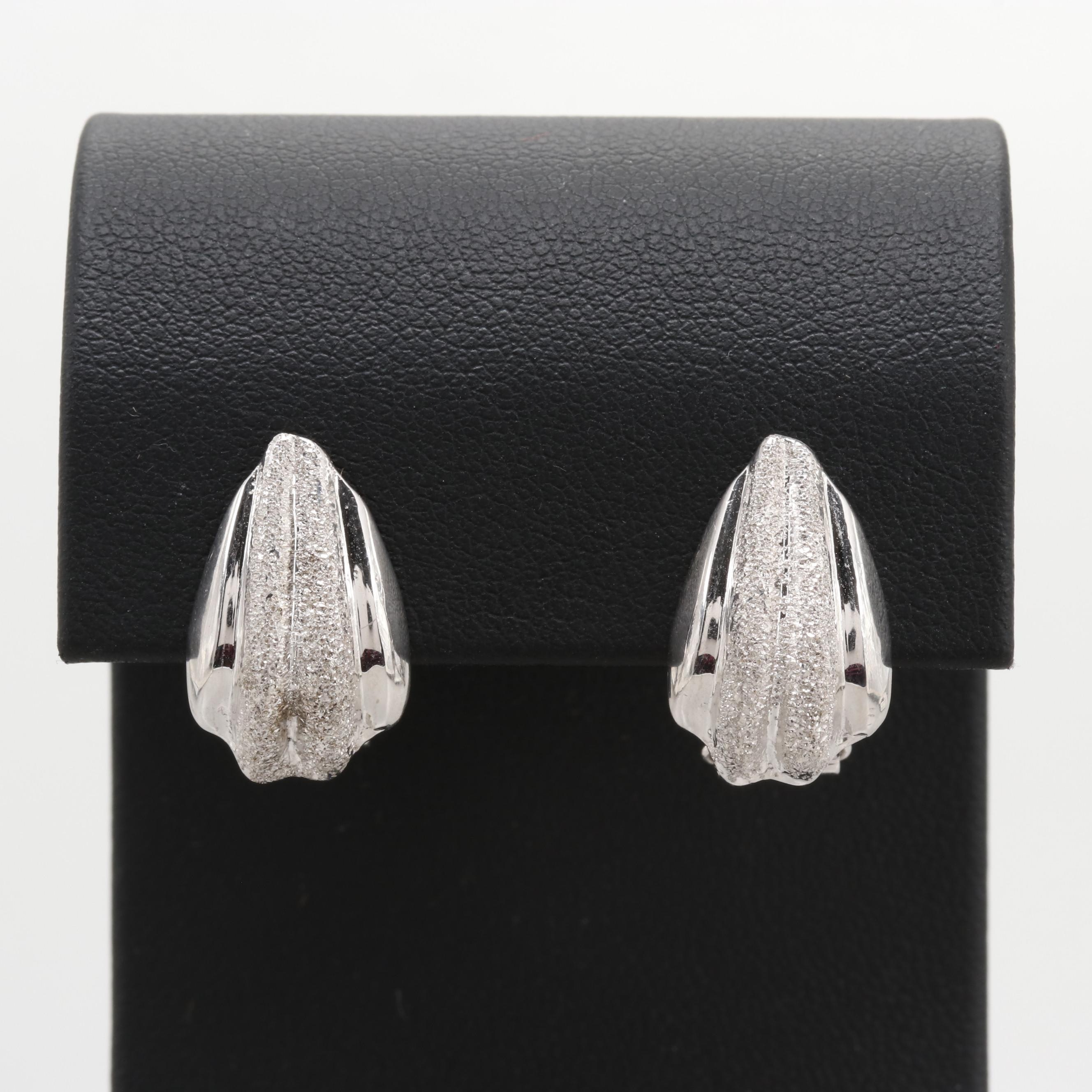 18K White Gold Earrings with Textured Accents