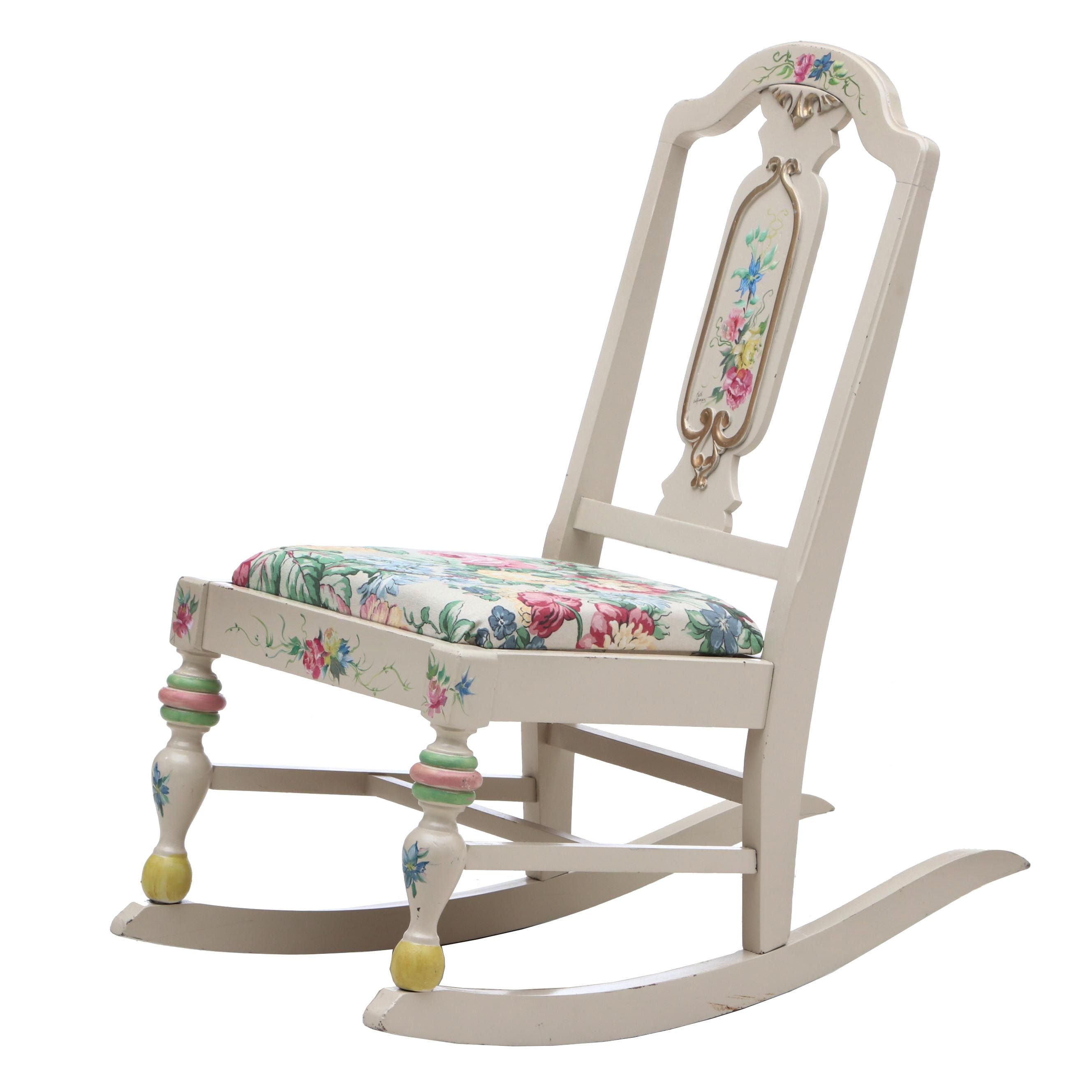 Hand-Painted Child's Rocker Embellished in Multiple Floral Colored Pattern