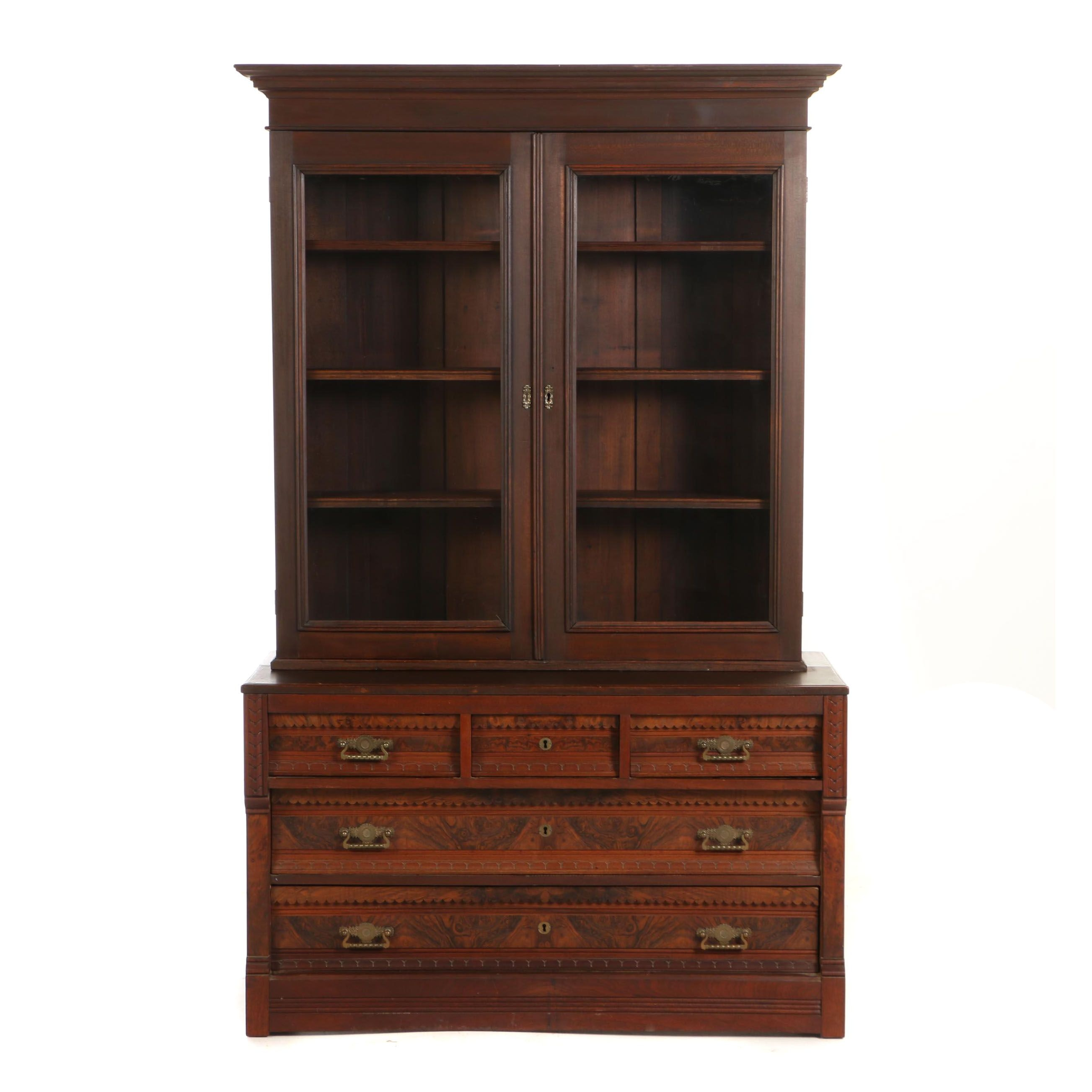 Victorian Cherrywood, Walnut & Burl Walnut Bookcase-on-Chest, Late 19th Century