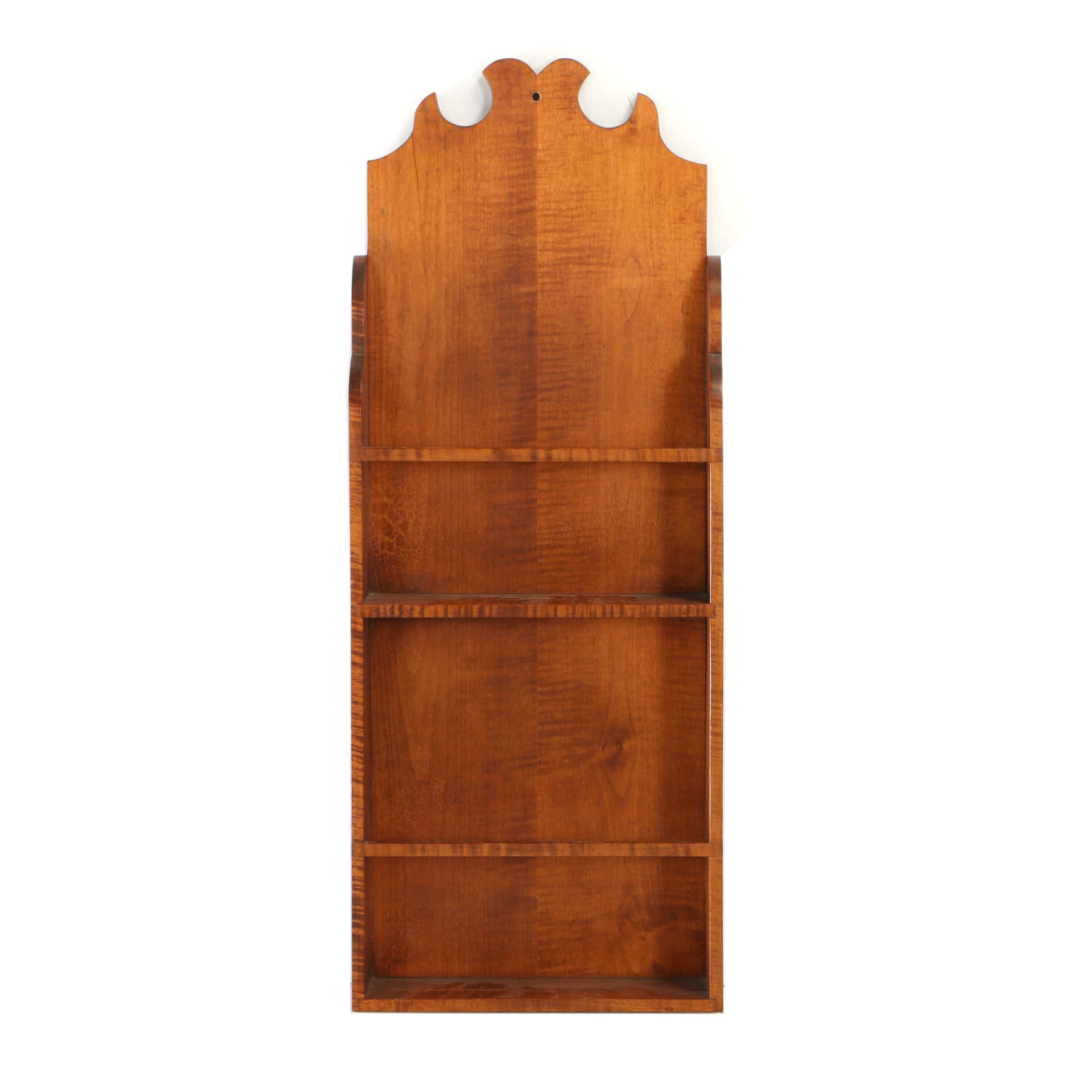 Federal Style Tiger Maple Bench-Made Hanging Plate Rack by David T. Smith & Co.