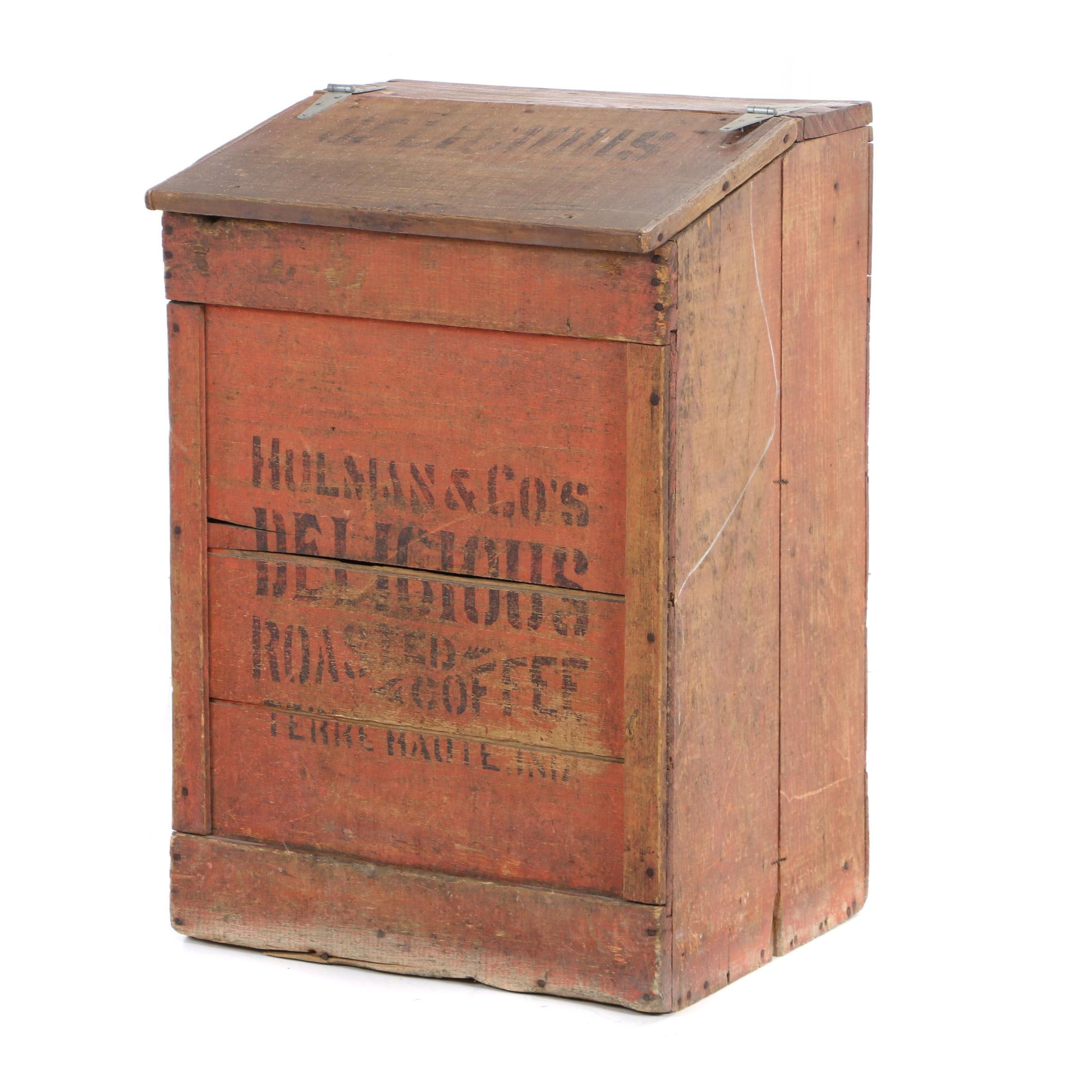 Painted Pine and Stenciled Country Store Bin for Hulman Coffee Co., Circa 1903