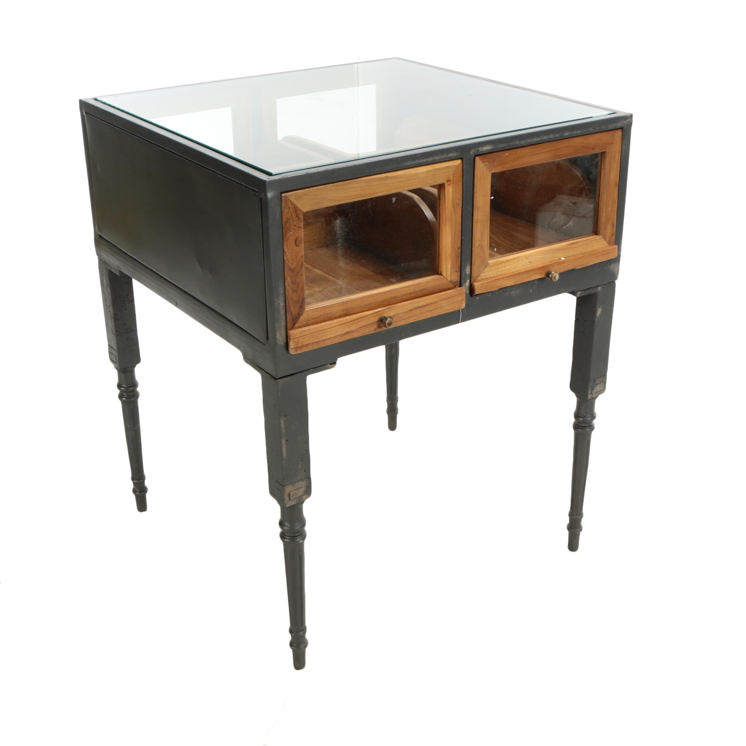 """Industrial Style """"Savile Row"""" Pine and Metal Square Shop Case, 21st Century"""