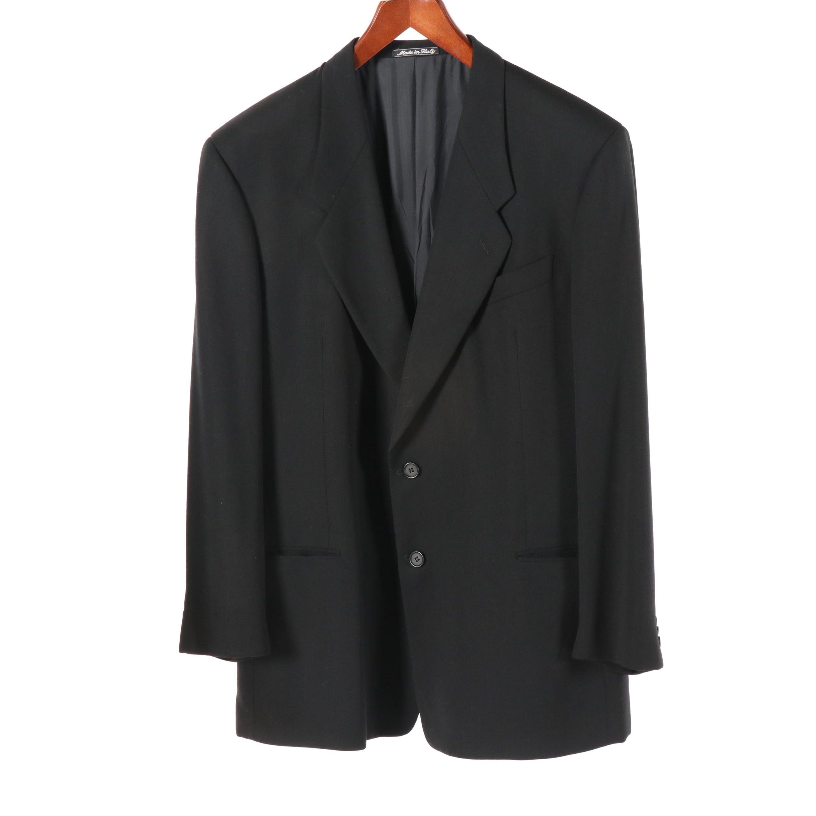 Men's Giorgio Armani Le Collezioni Black Wool Jacket, Made in Italy