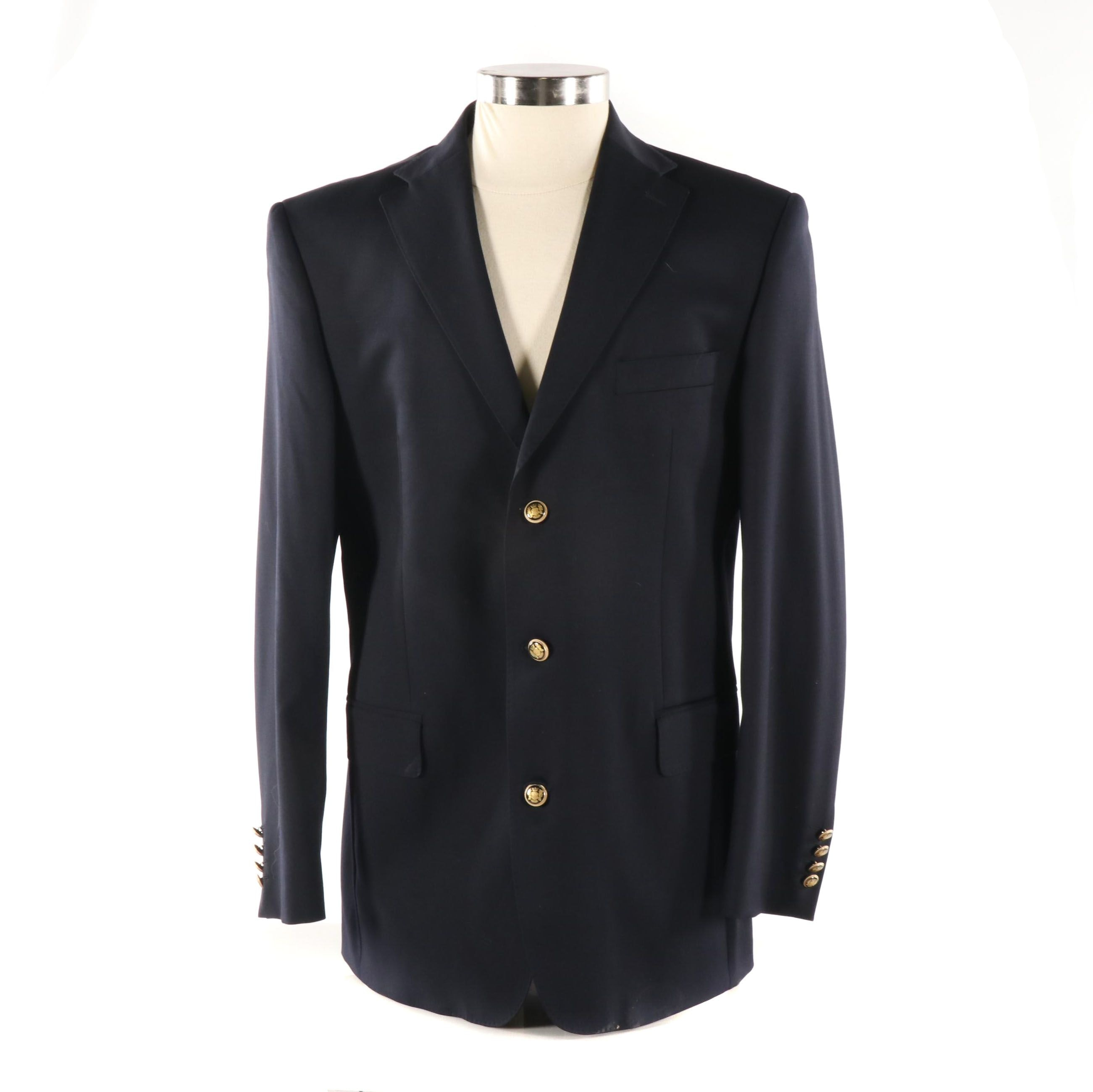 Men's Reda Navy Wool Blazer, Made in Italy