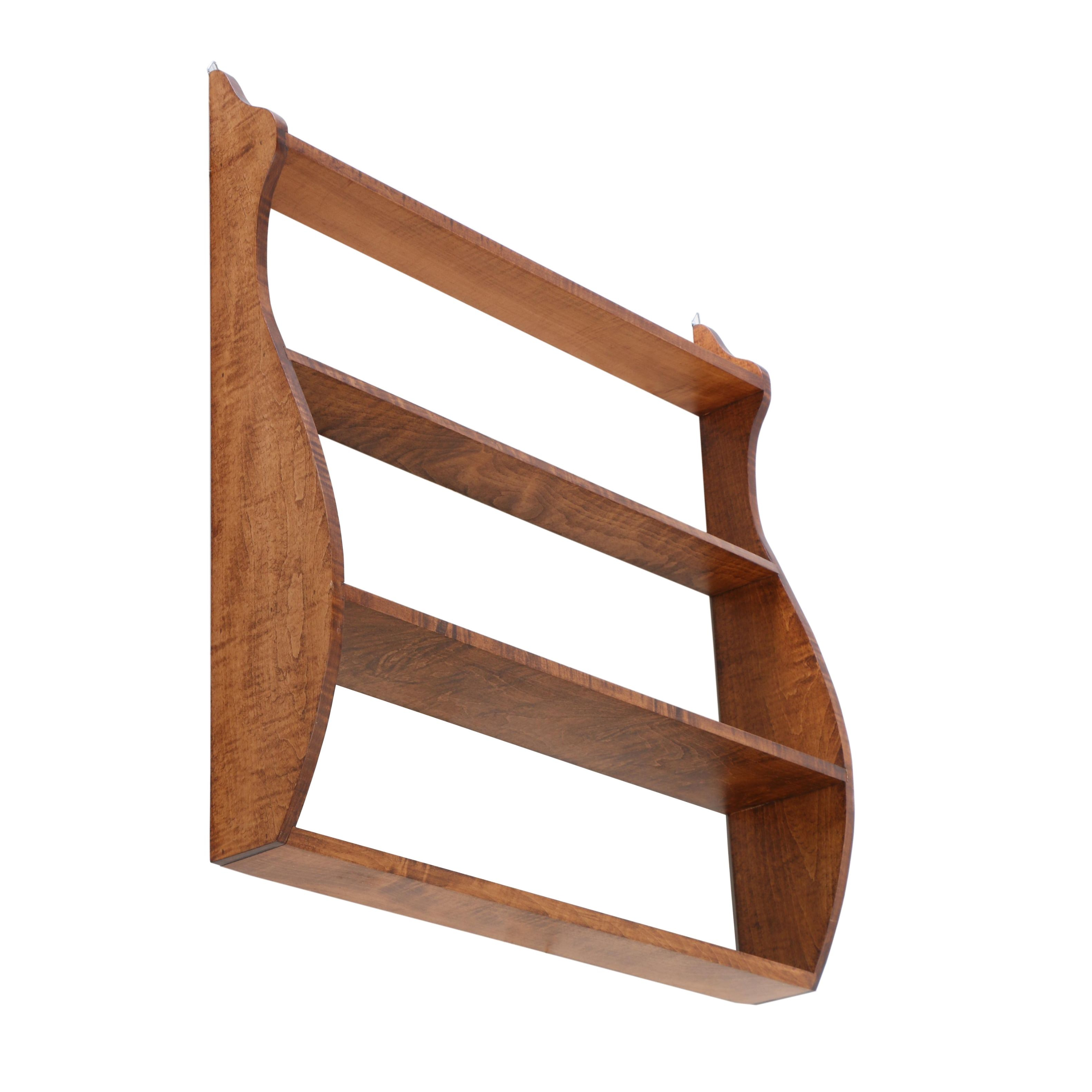 Contemporary Federal Style Maple Bench-Made Hanging Shelf