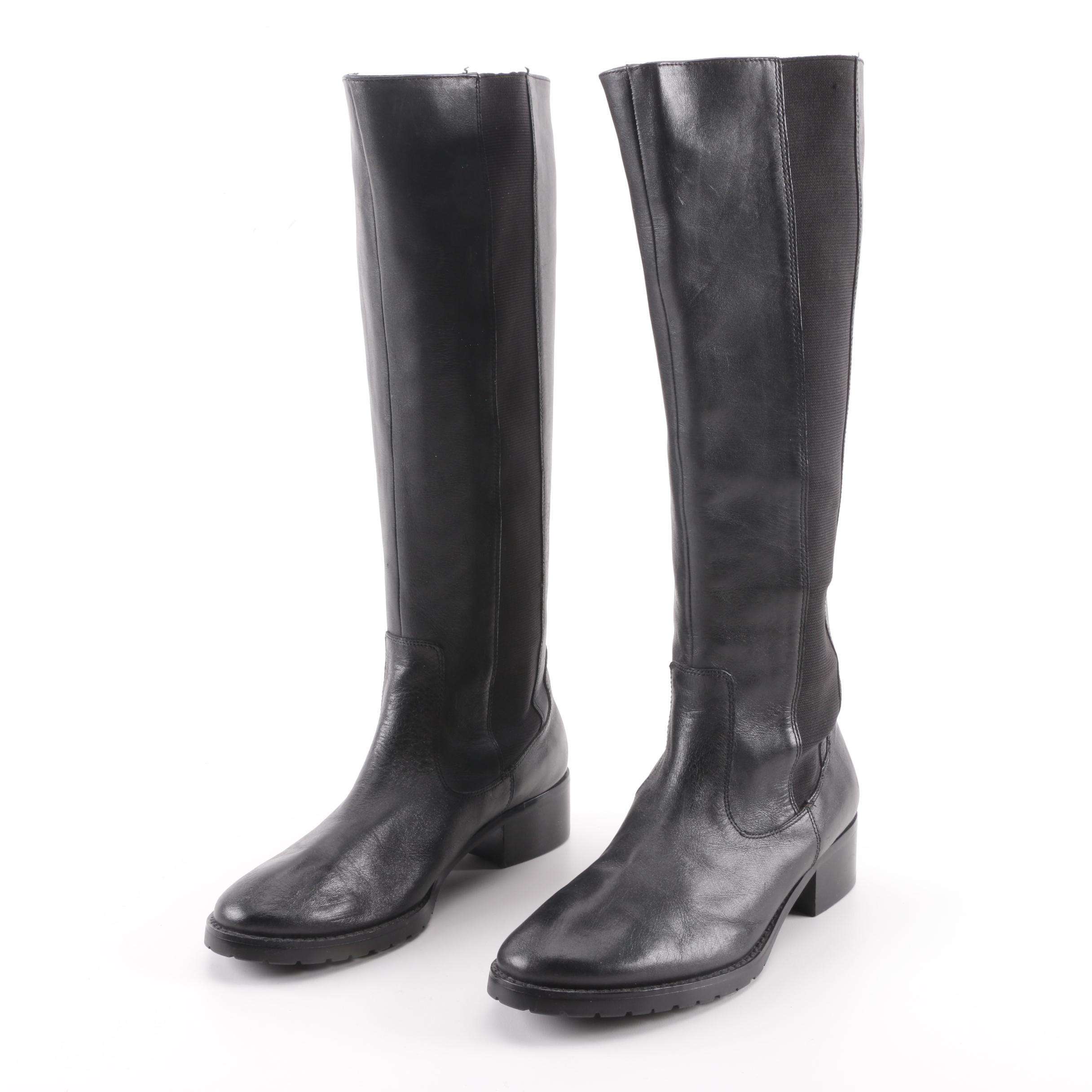 Women's Donald J Pliner Buriel Black Leather Riding Boots
