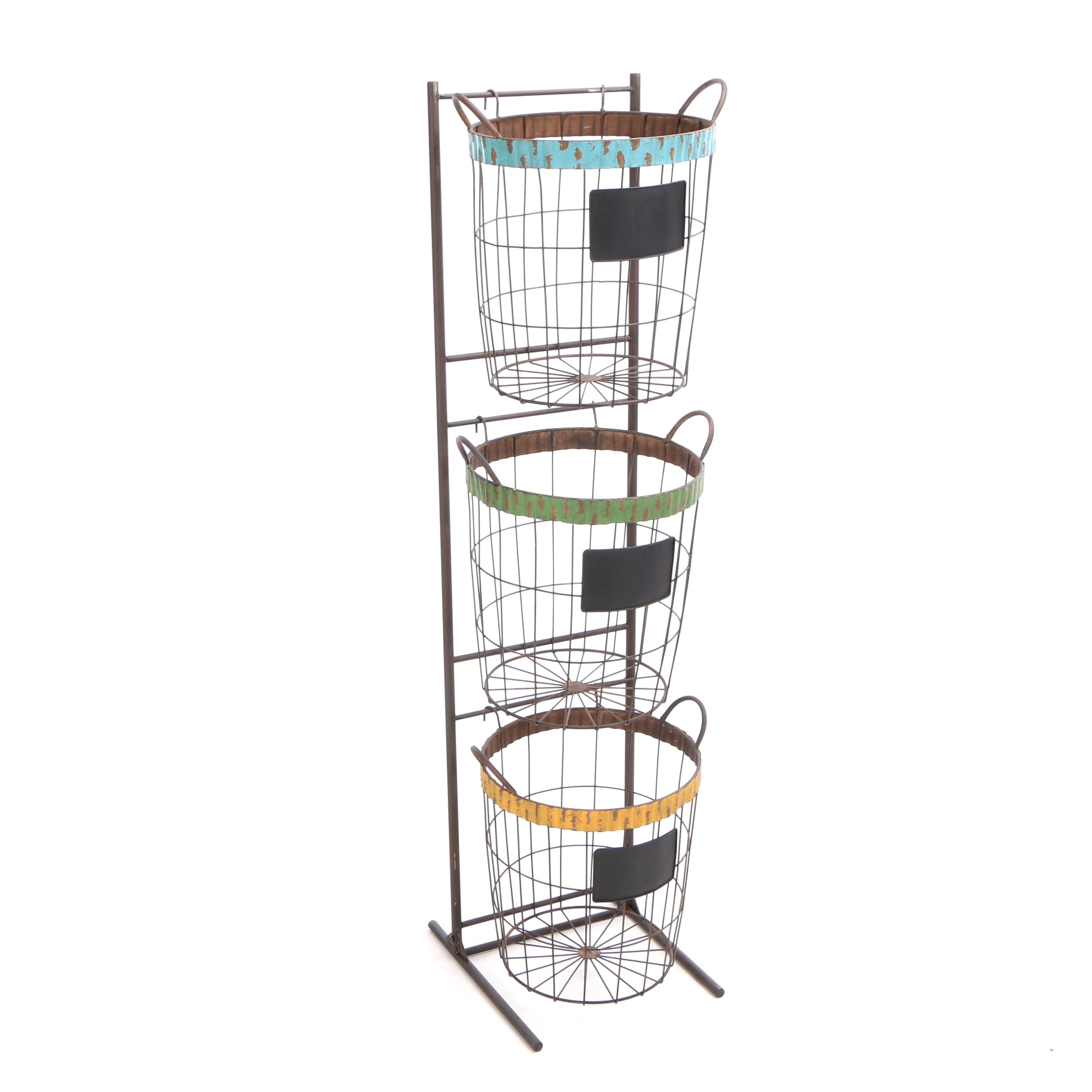 Wire Baskets with Painted Trim and Labels on Tiered Stand