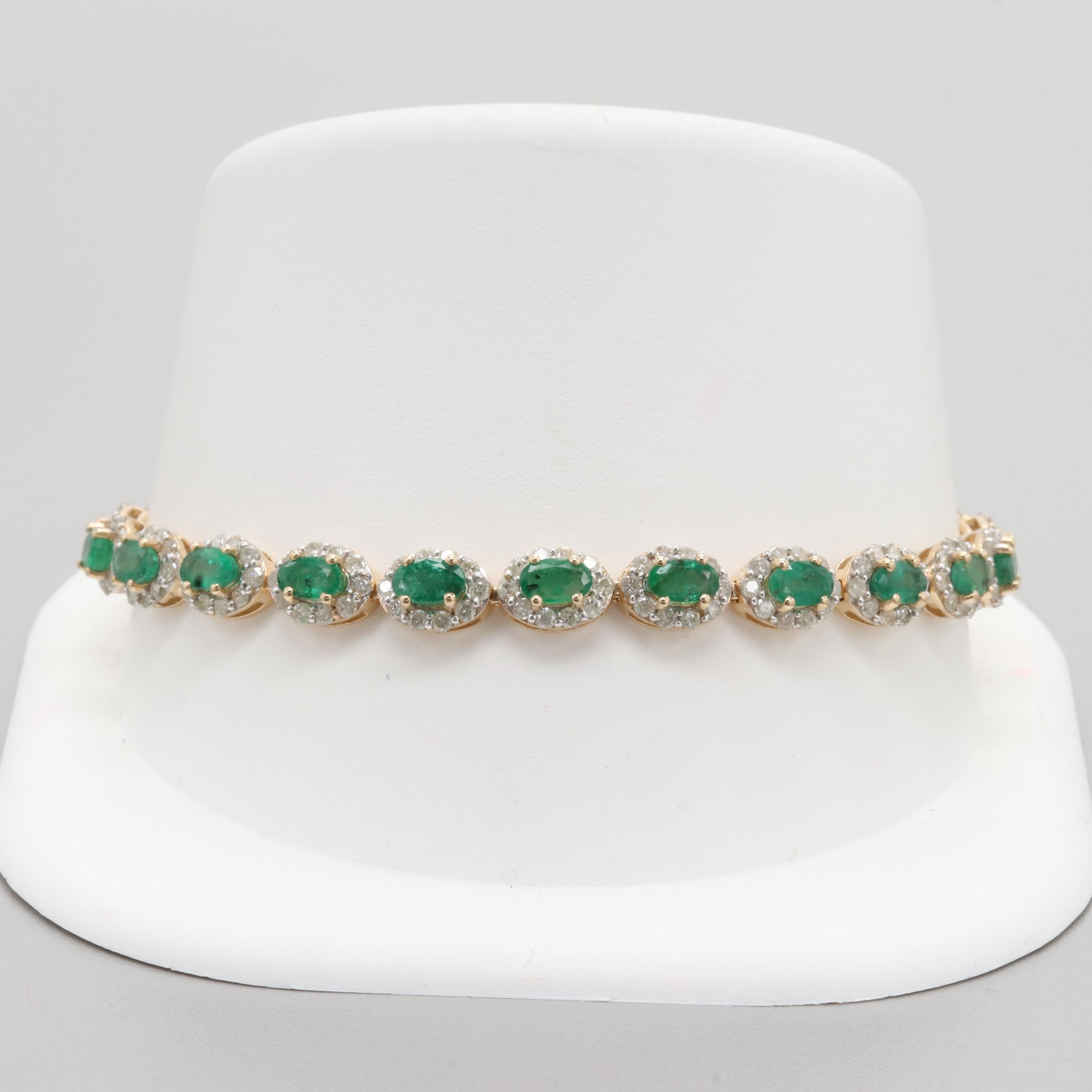 14K Yellow Gold Emerald and 3.30 CTW Diamond Bracelet