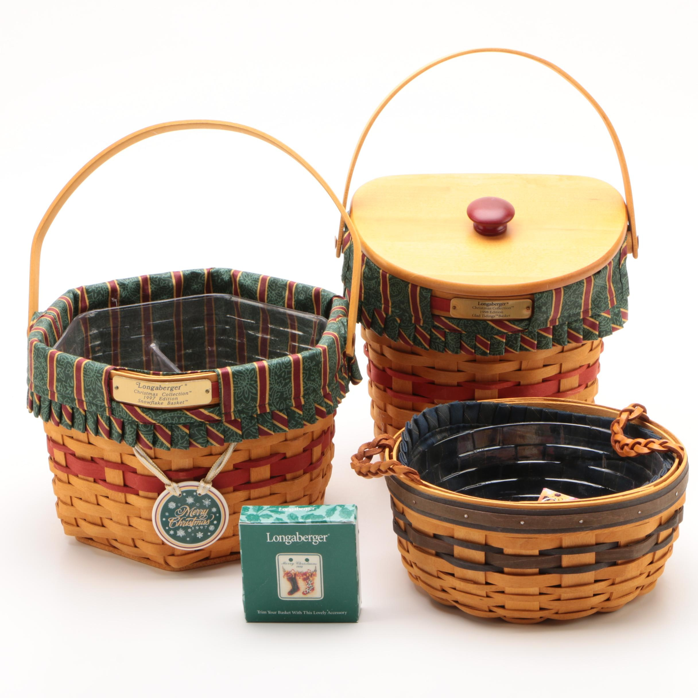 """Longaberger """"Christmas Collection"""" Baskets with Tie-On and Renewal Basket, 1990s"""