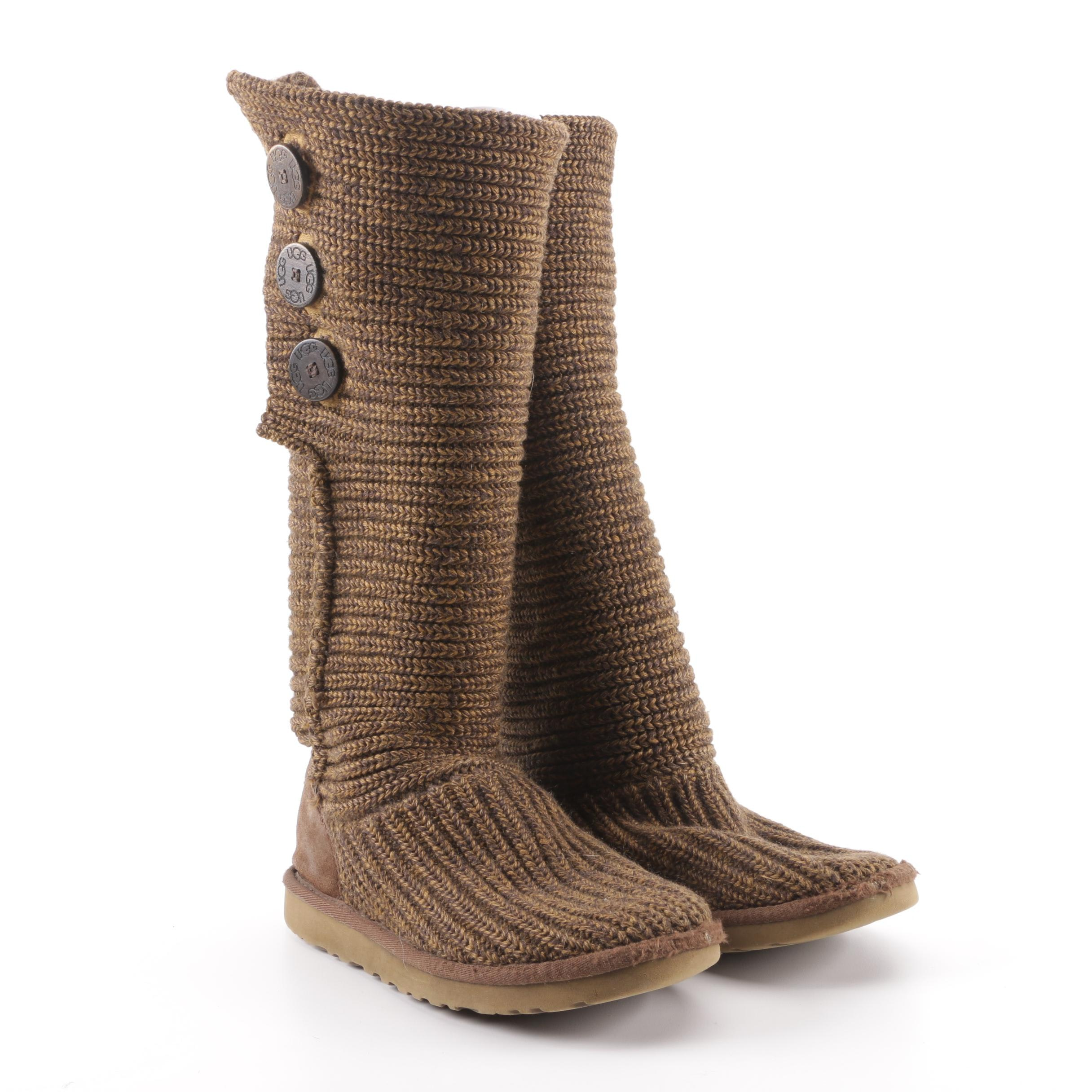 Women's UGG Australia Classic Cardy Brown Knit Boots