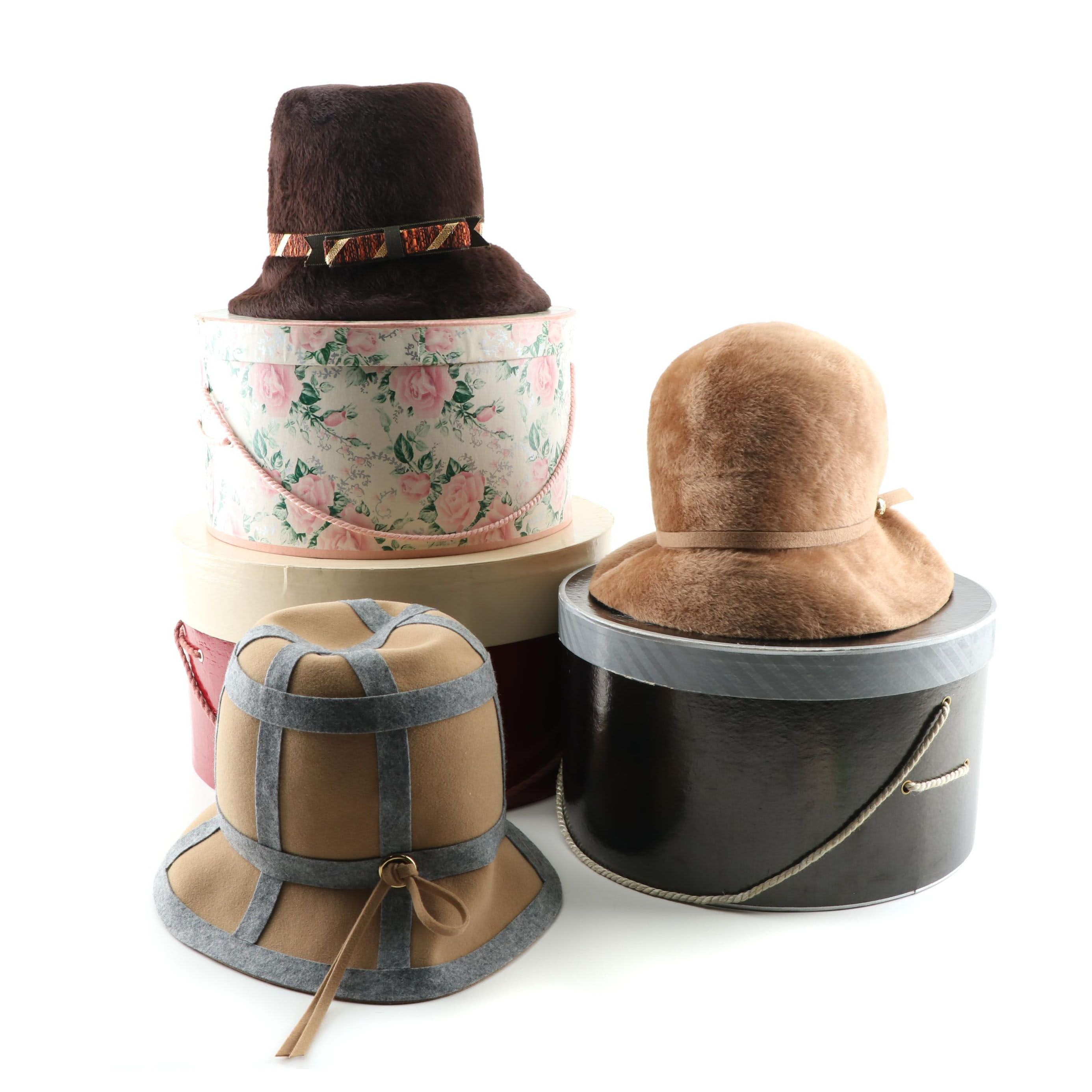 Women's Vintage Felted Wool and Fur Bucket Hats including Mr. John Classic