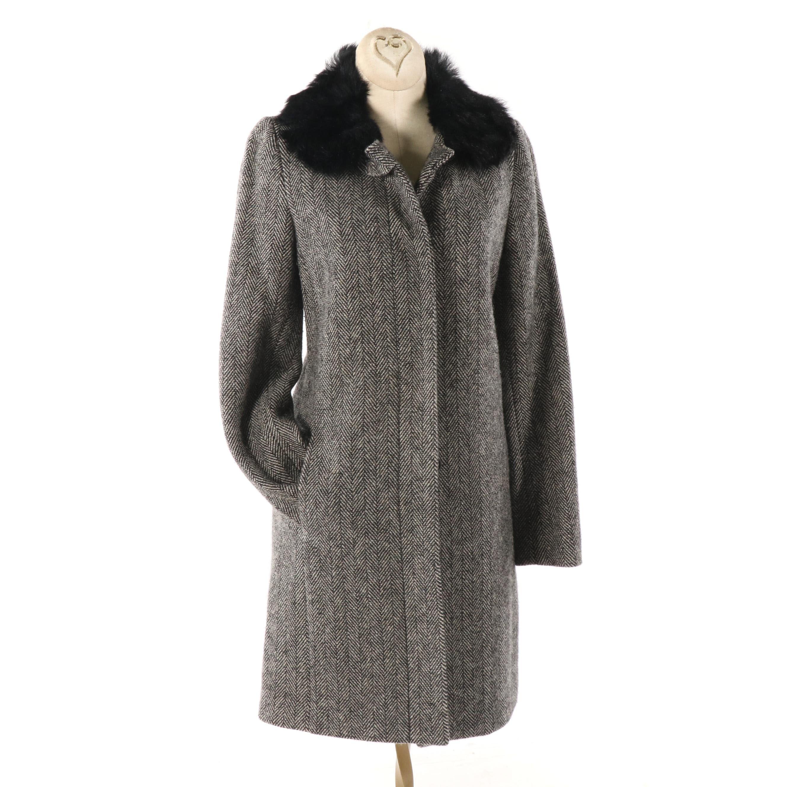 Women's Banana Republic Herringbone Wool Coat with Shearling Collar
