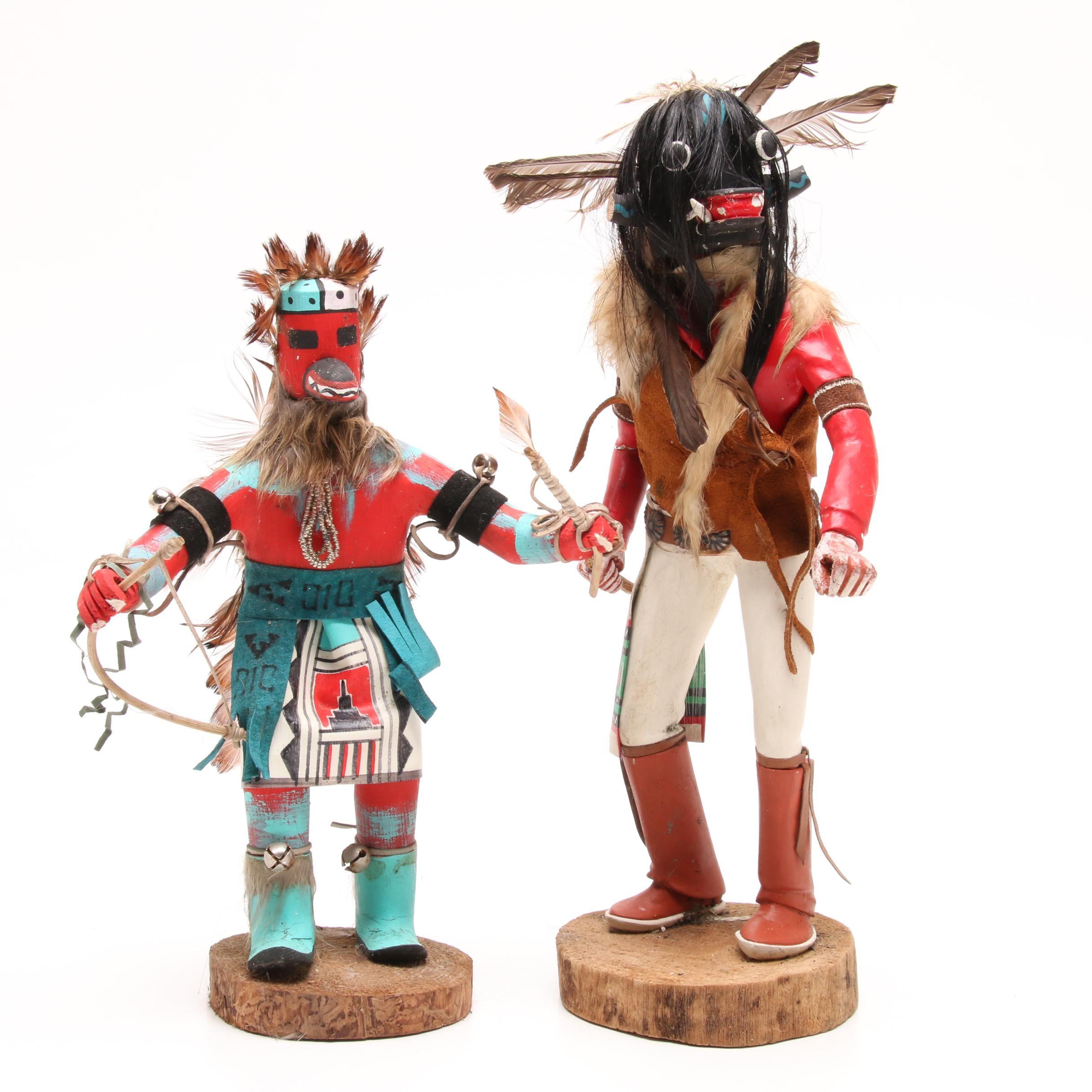 Pair of Southwestern Style Kachina Dolls, Signed