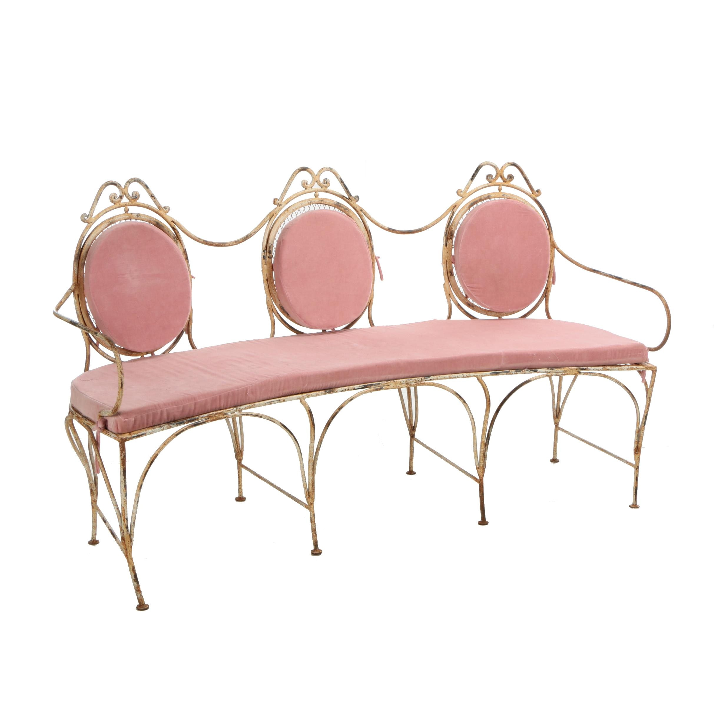 "French Style ""Veranda"" Iron Settee with Removable Velvet Cushions, 21st Century"