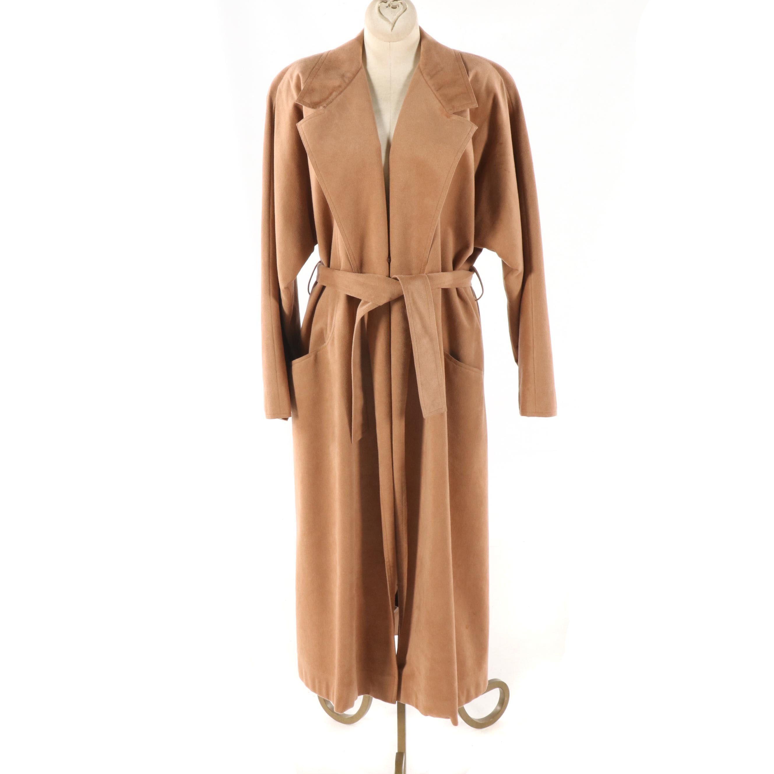 Women's Vintage Ernst Strauss for Montaldo's Tan Ultrasuede Coat with Tie Belt