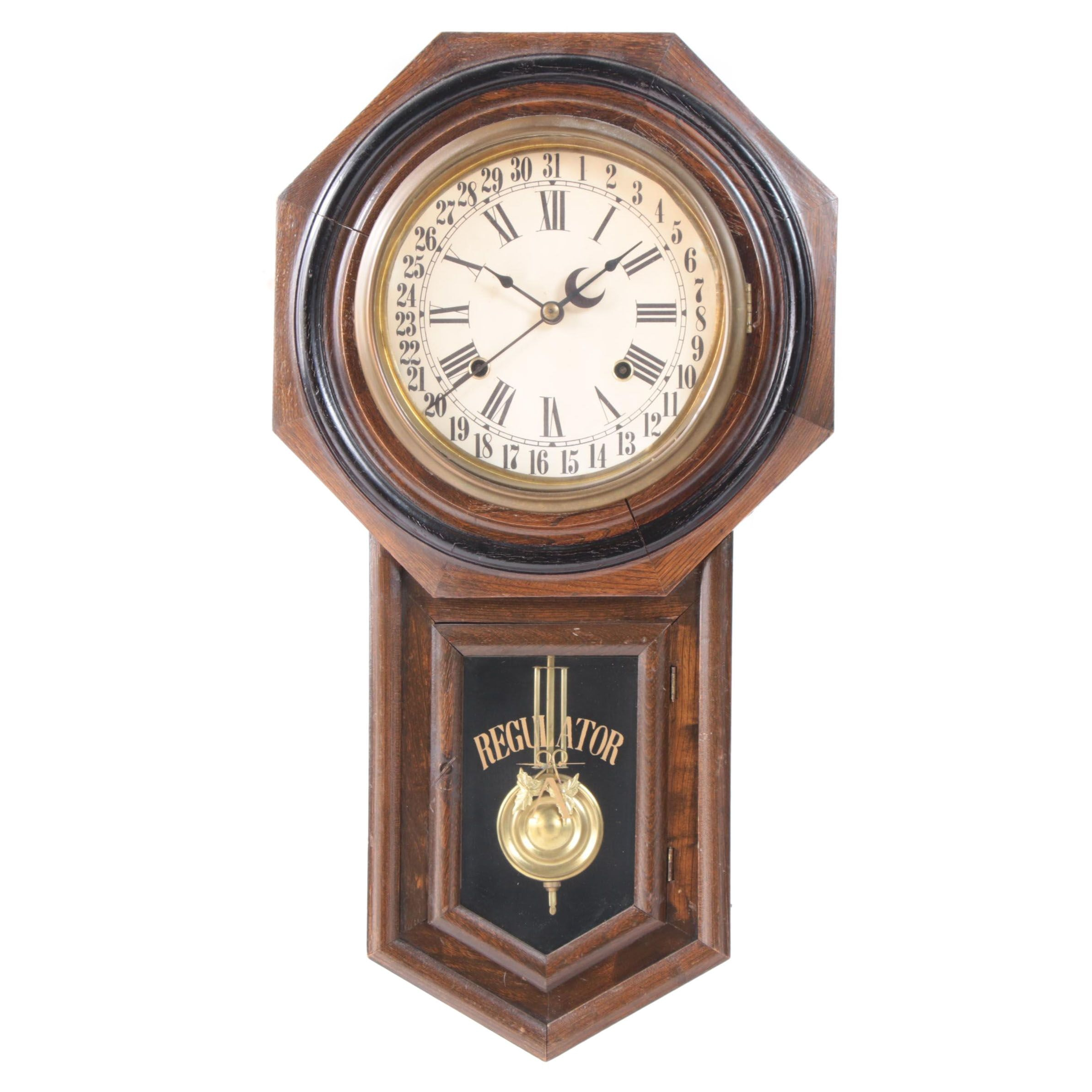 """Regulator A"" Calendar Walnut Wall Clock, circa 1900"
