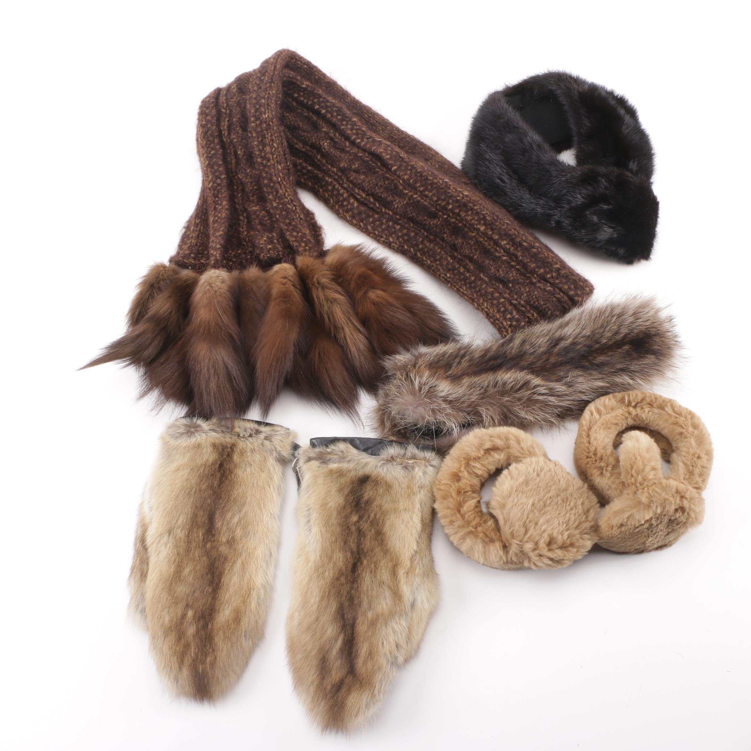 Mink Fur Tail Scarf with Fur Headband, Earmuffs, Gloves and Collar