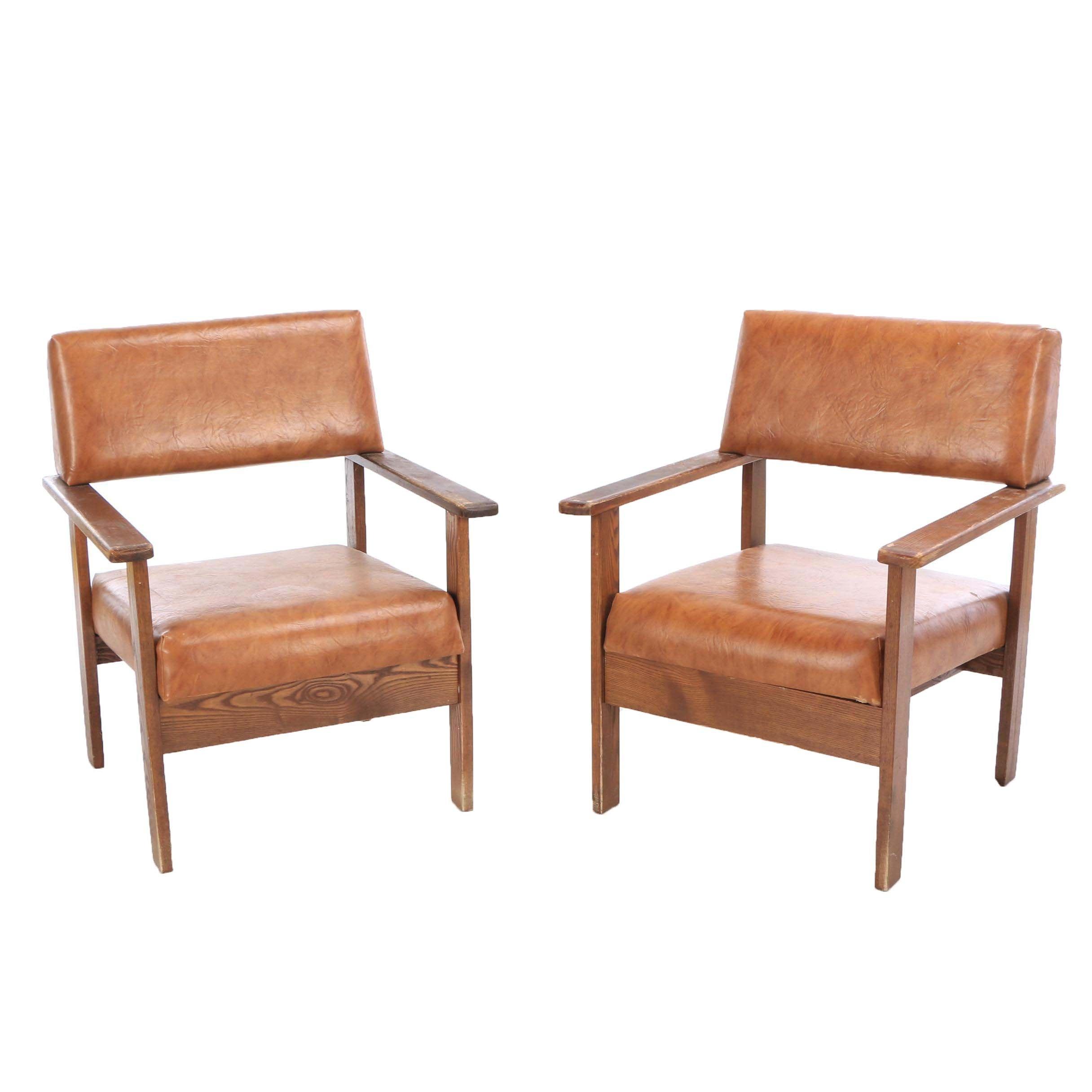 Oak Frame Vinyl Upholstered Office Chairs, Mid-20th Century