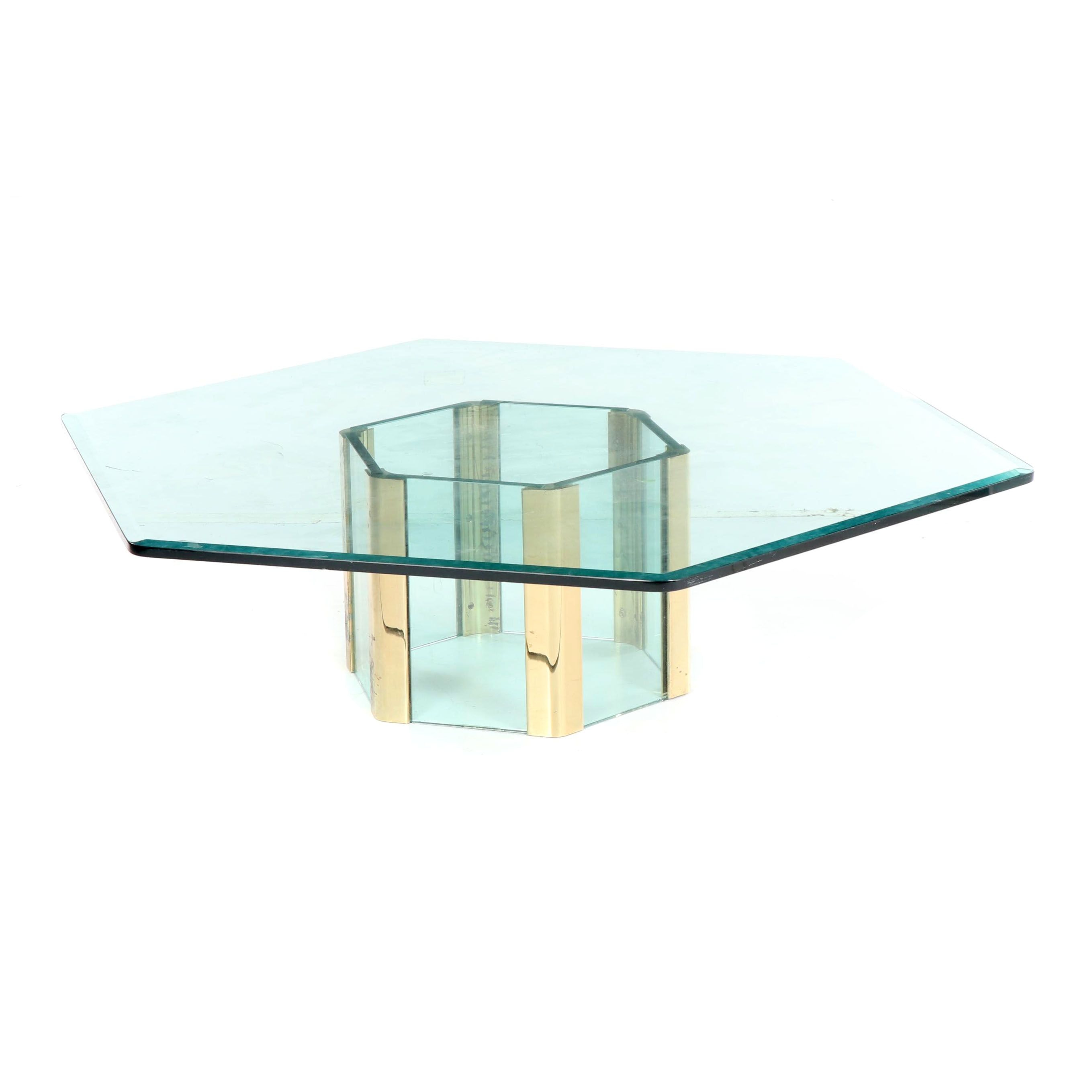 Hexagonal Glass and Metal Coffee Table, 20th Century