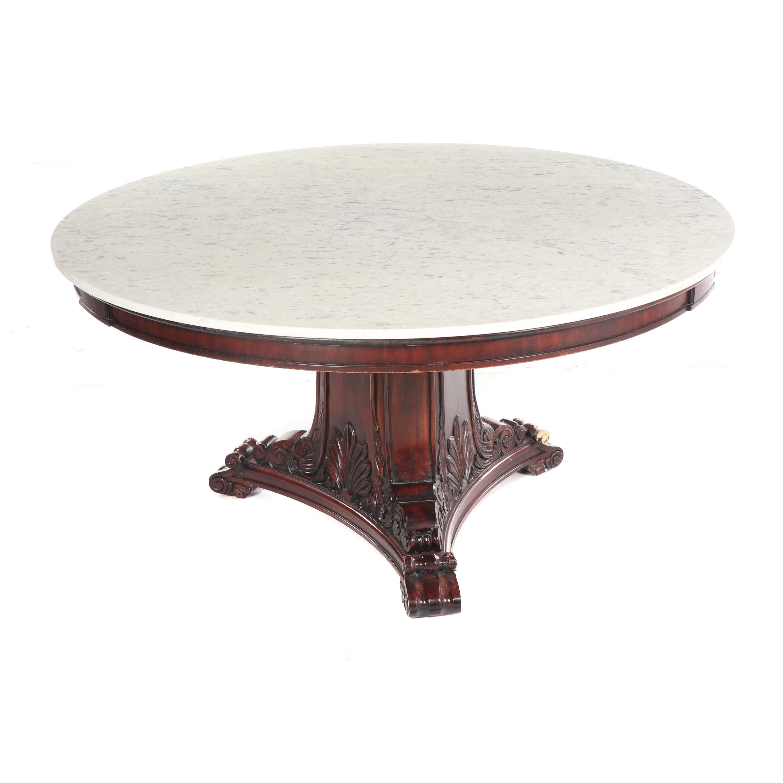 Stone Topped Wooden Pedestal Dining Table, 20th/21st Century