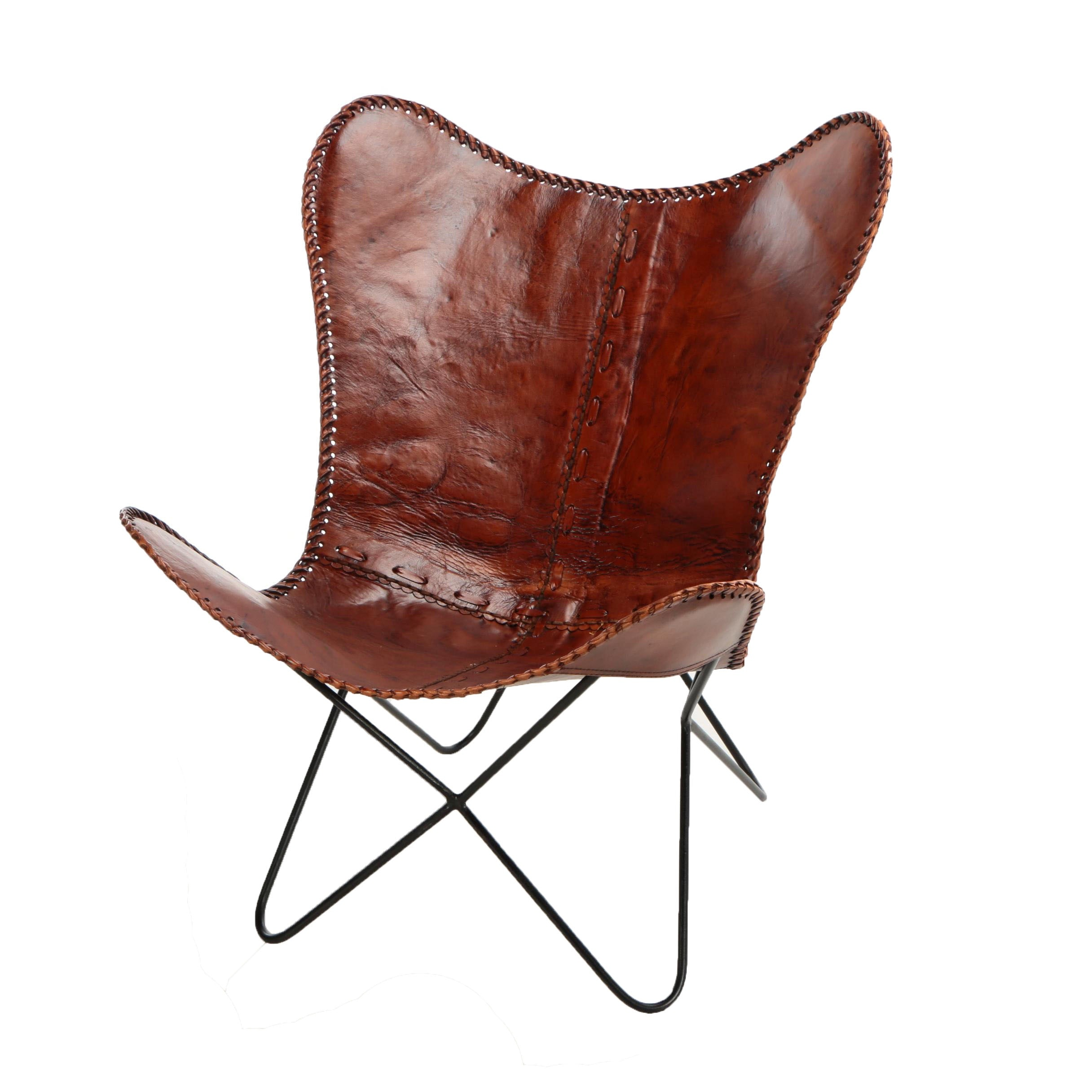 Stitched Leather Butterfly Chair, 21st Century ...