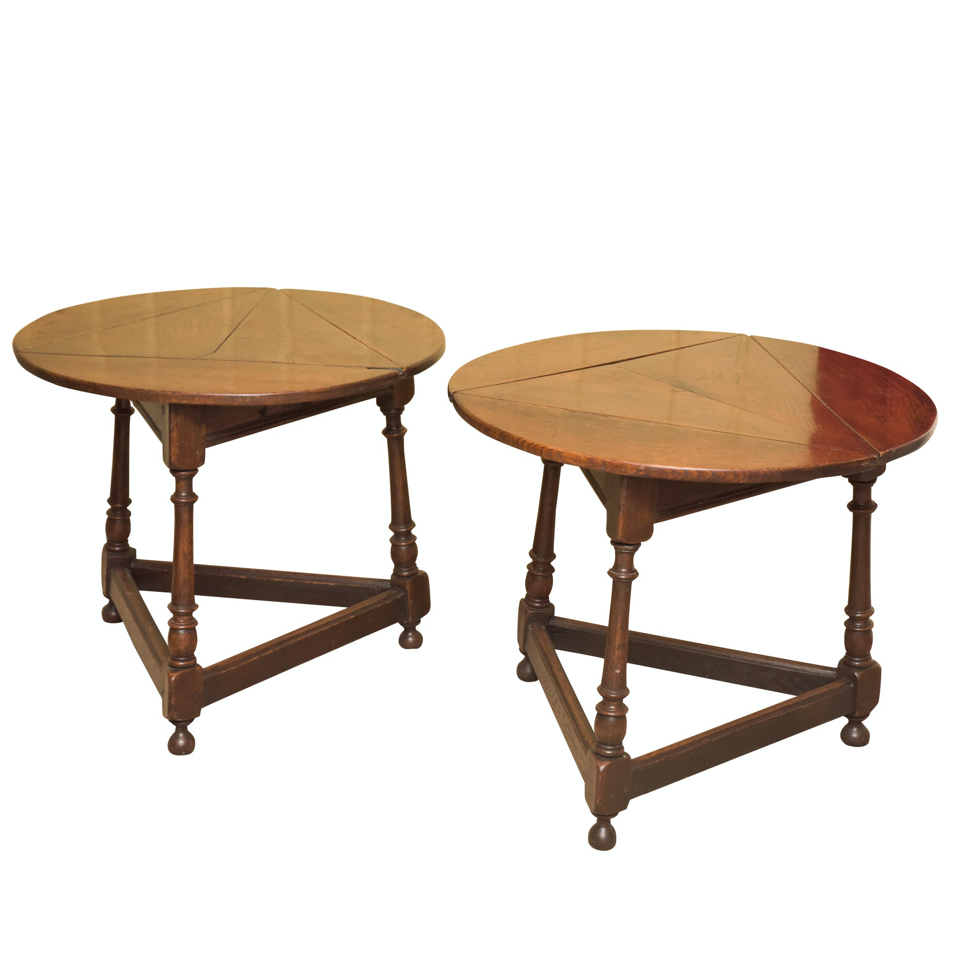 William and Mary Style Oak Handkerchief Side Tables, Late 19th Century